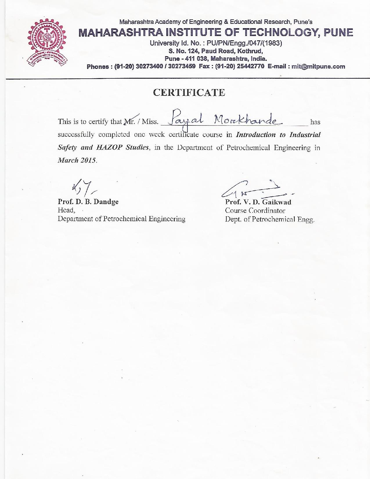 Payal morkhande bayt industrial safety and hazop studies certificate 1betcityfo Choice Image