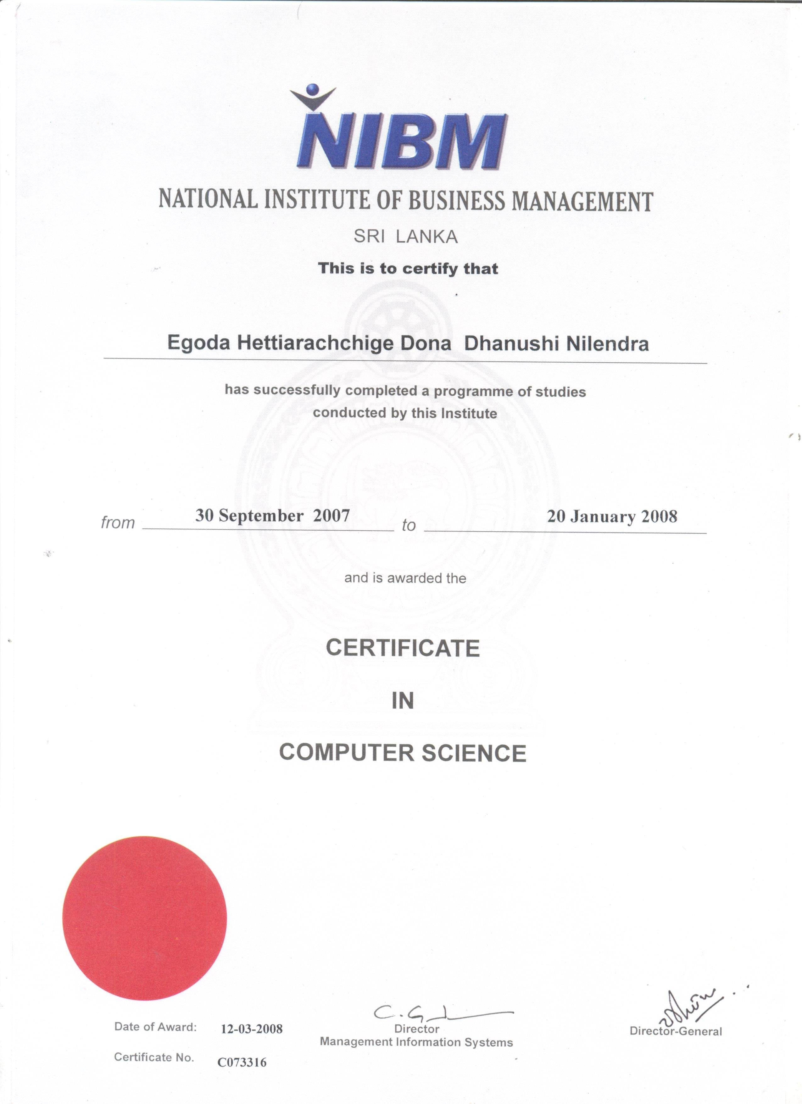 Dhanushi nilendra bayt certificate course in computer science certificate xflitez Images