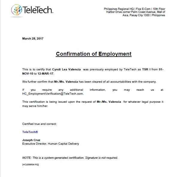 chowking certificate of employment