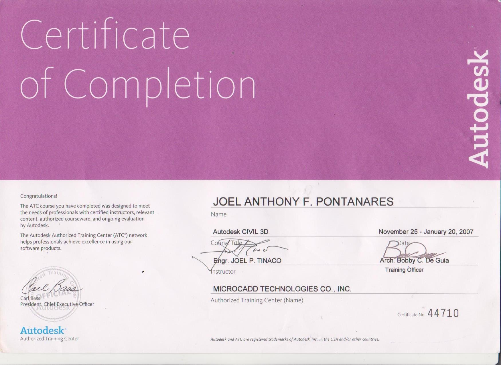 Joel anthony pontanares bayt autodesk civil 3d 2007 certificate xflitez Gallery