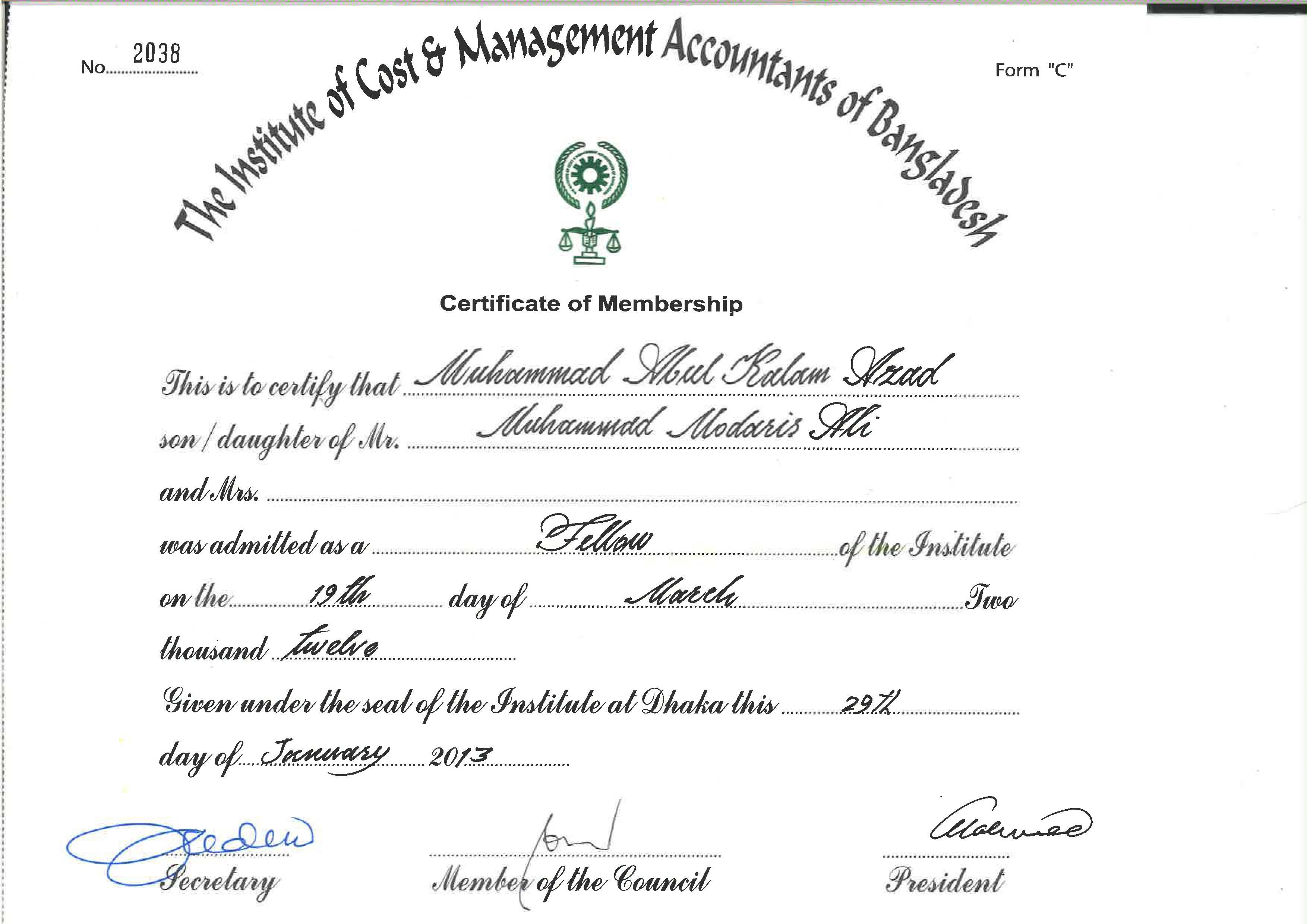 muhammad abul kalam azad fcma bayt com a well reputed professional chartered cma degree run by the institute of cost and management accountants of icmab web icmab org bd