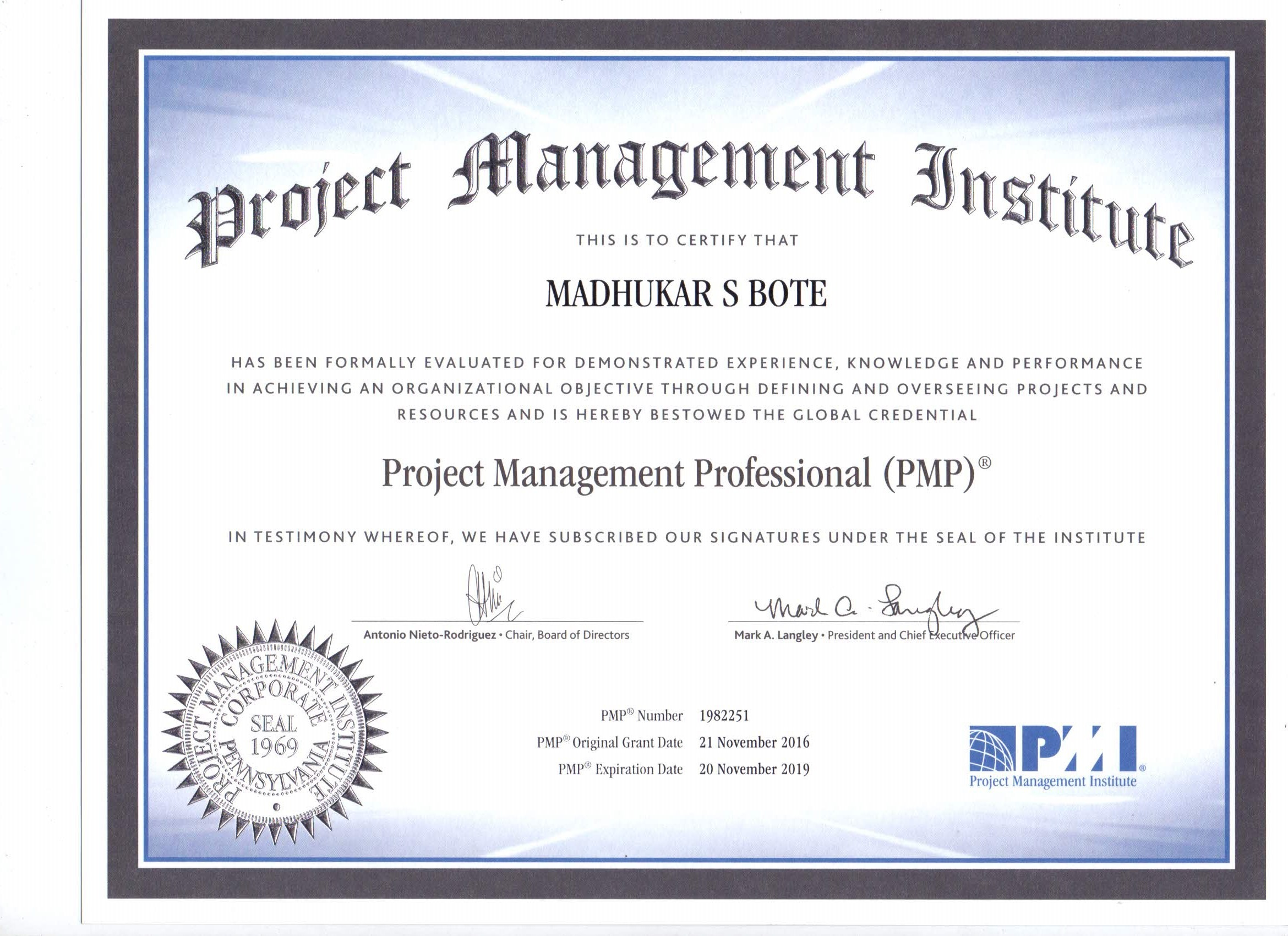 Madhukar bote bayt project management professional pmp certificate xflitez Image collections