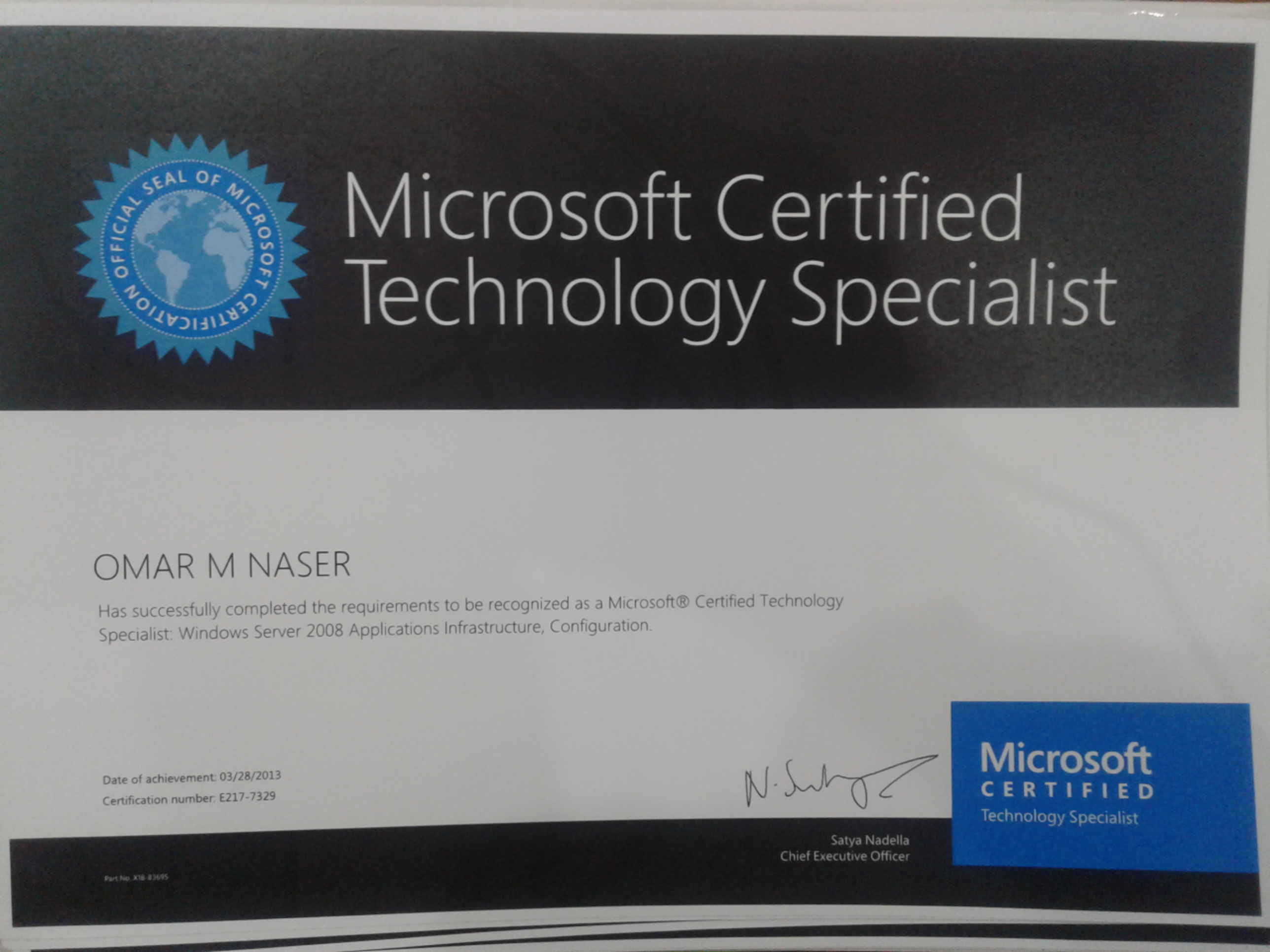 Omar mahmoud ahmad naser bayt microsoft certified technology specialist mcts certificate 1betcityfo Gallery