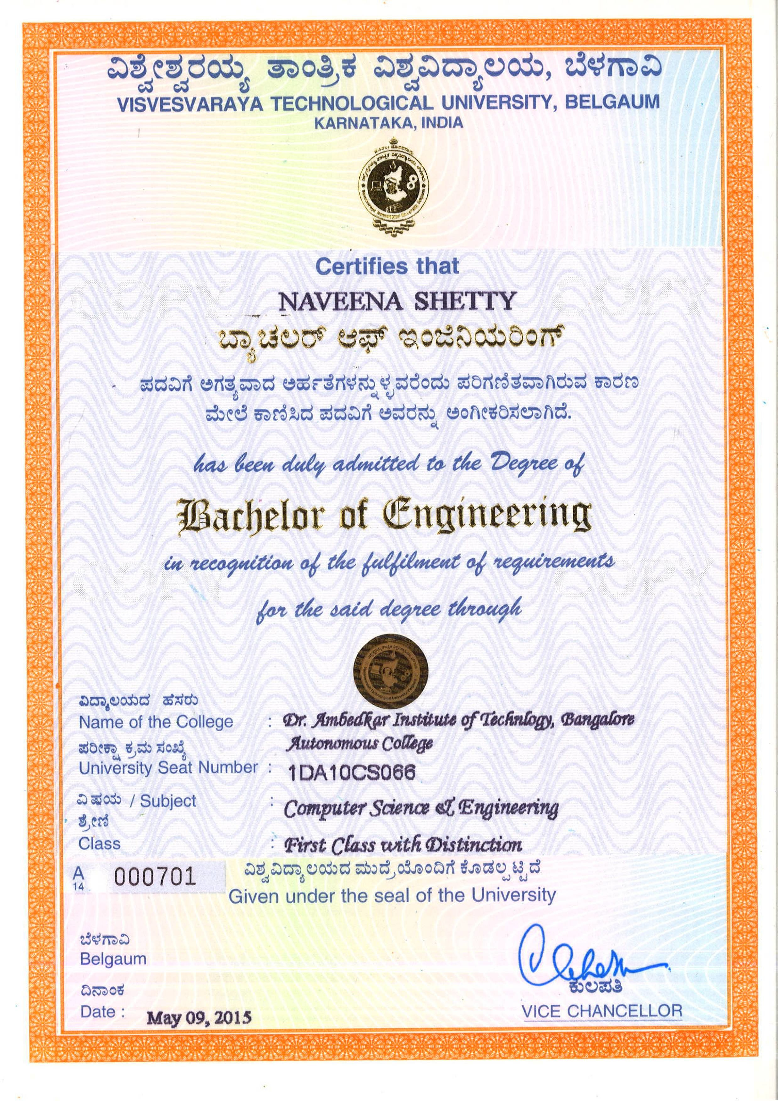Naveena shetty bayt bachelor of engineering in computer science cgpa860 sep 2010 may 2014 key courses computer concepts c programming data structures xflitez Gallery