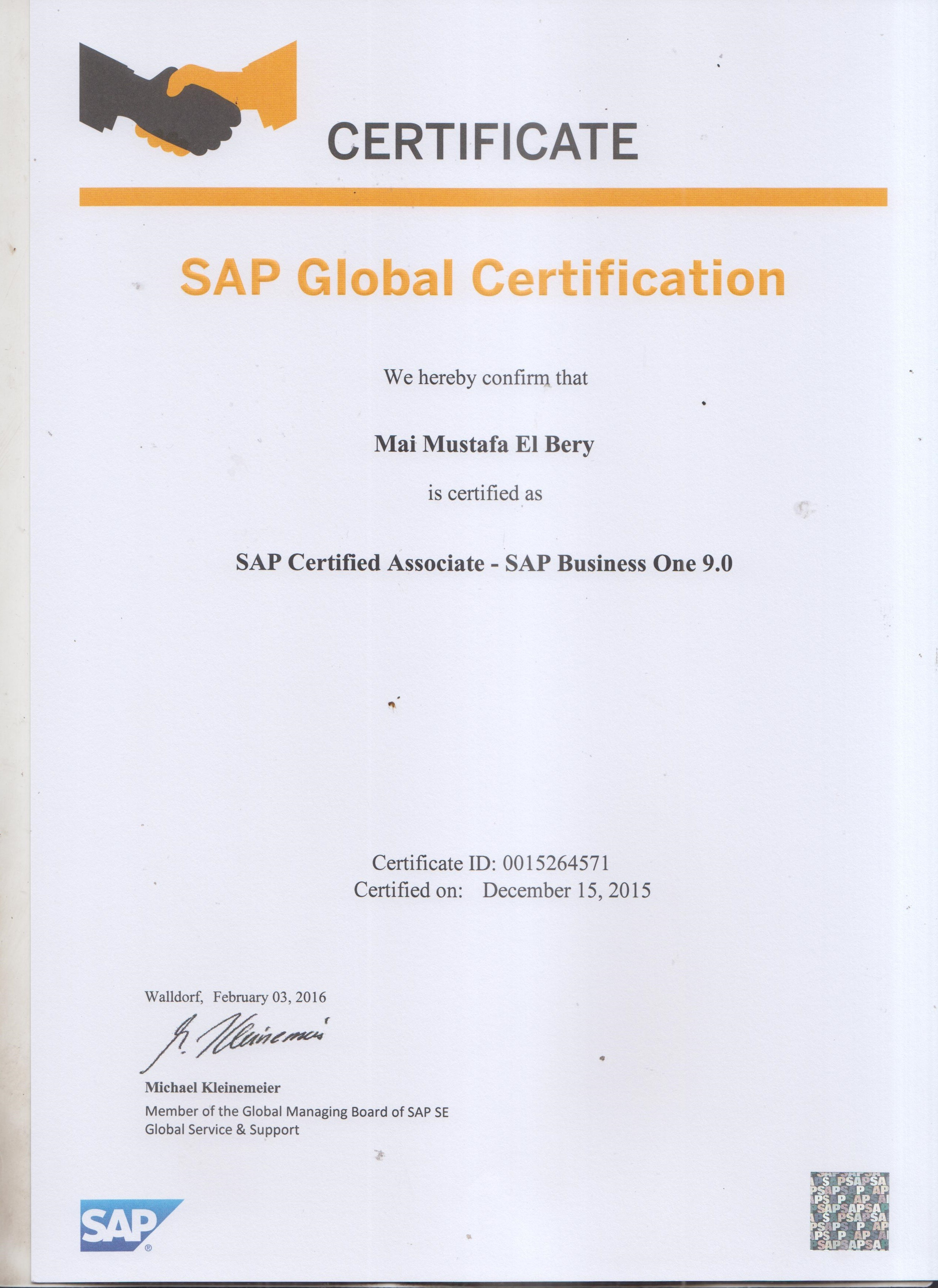 Mai el bery bayt sap certified application associate sap business one 90 ctb120090 certificate 1betcityfo Image collections
