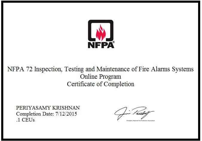Periyasamy krishnan bayt nfpa72 inspection testing main of fire alarm system certificate yelopaper Choice Image