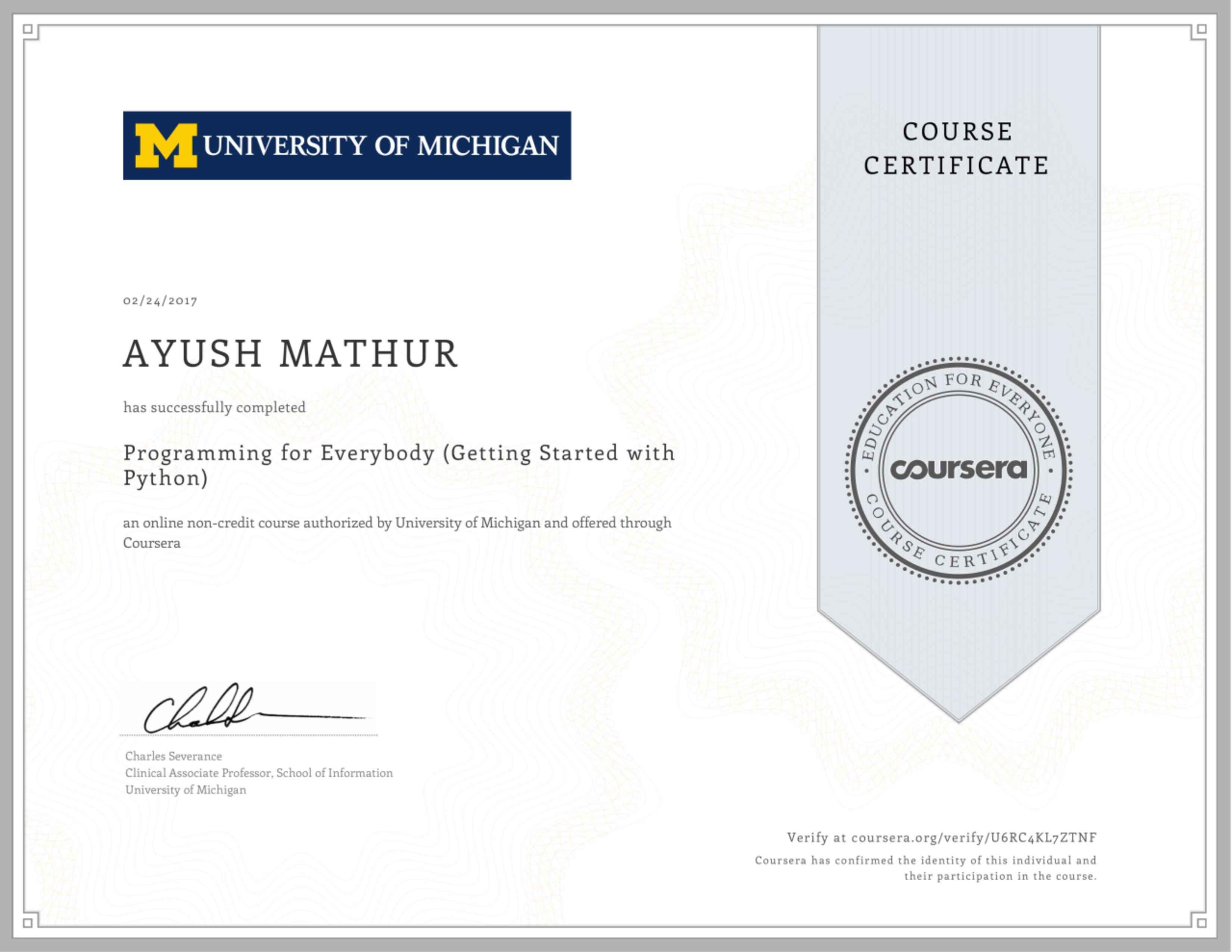 Ayush mathur bayt python programming certificate 1betcityfo Choice Image