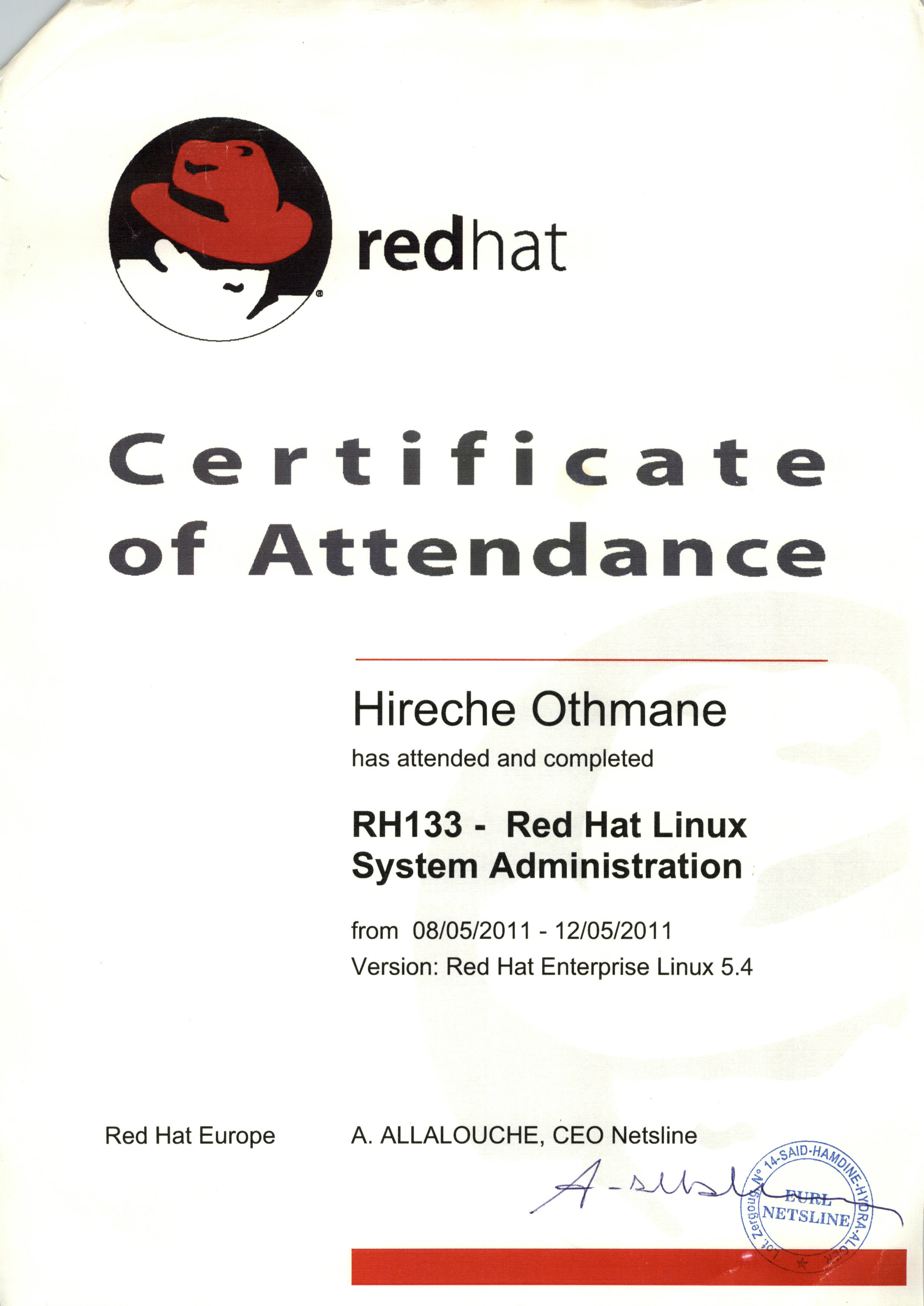 Othmane hireche bayt institut de formation netsline school official training and certification center authorized by red hat xflitez Images