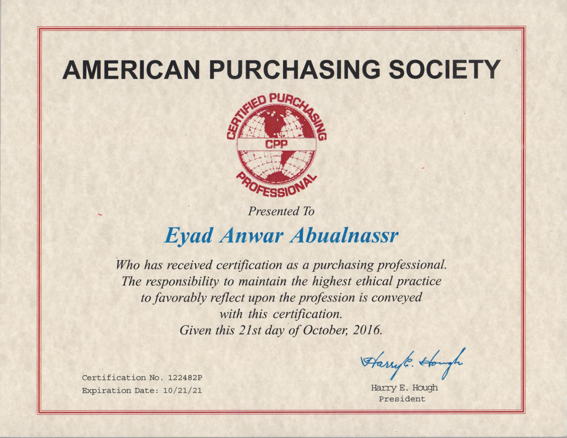 Eyad abualnassr bayt certified purchasing professional cpp certificate xflitez Image collections
