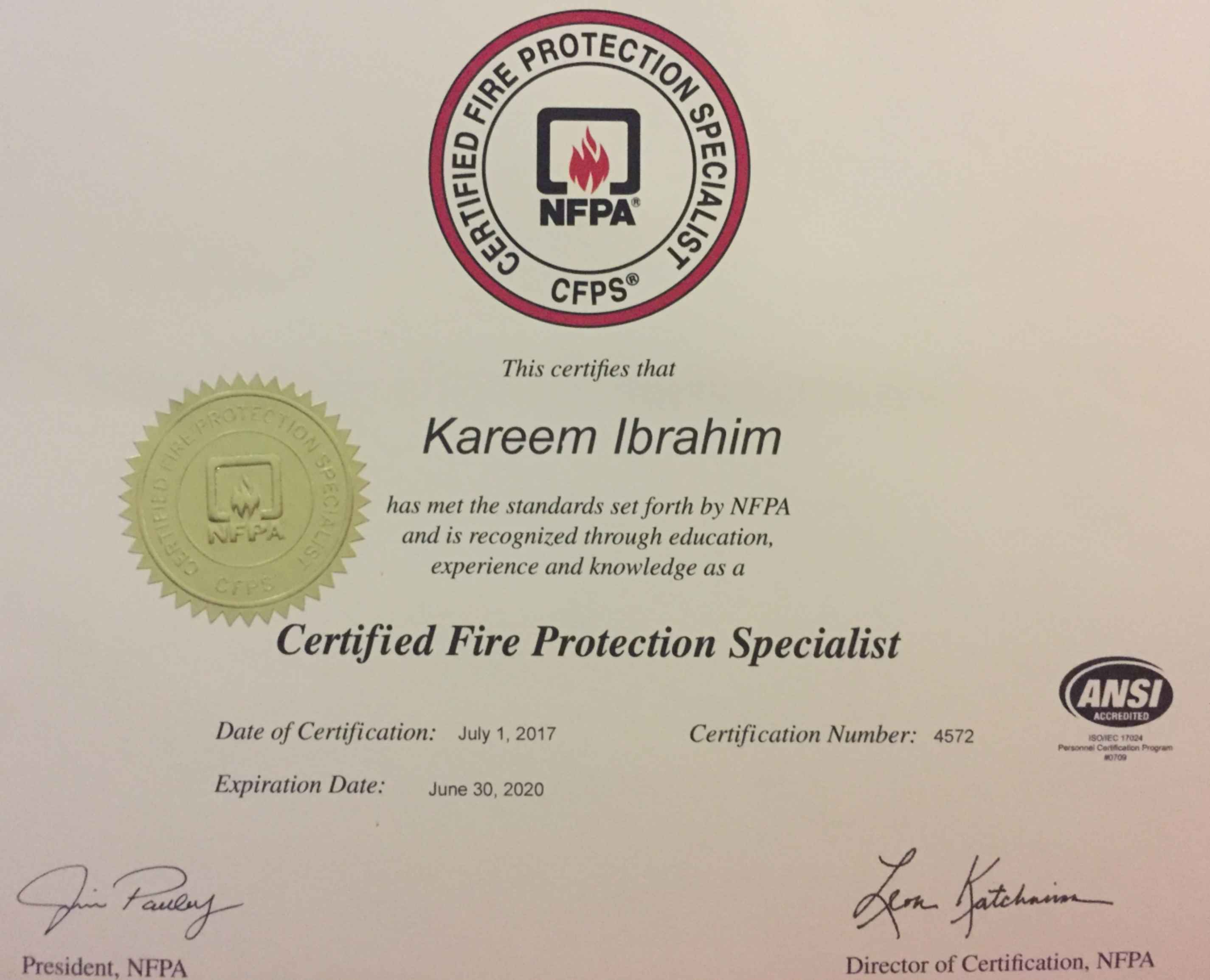 Kareem ibrahim bayt certified fire protection specialist cfps certificate xflitez Image collections