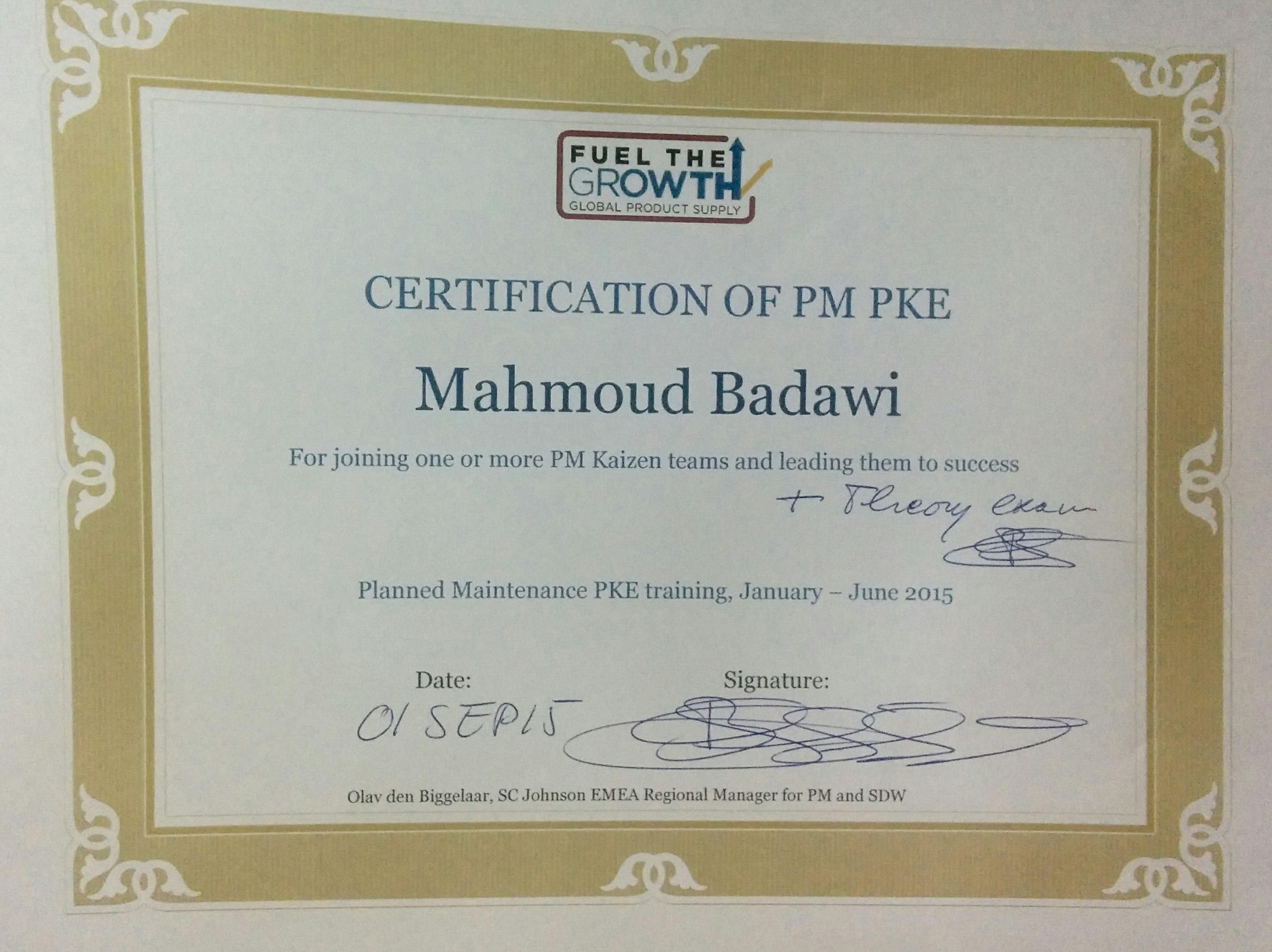 Mahmoud badawi bayt planned maintenance pillar kaizen engineer certificate 1betcityfo Gallery