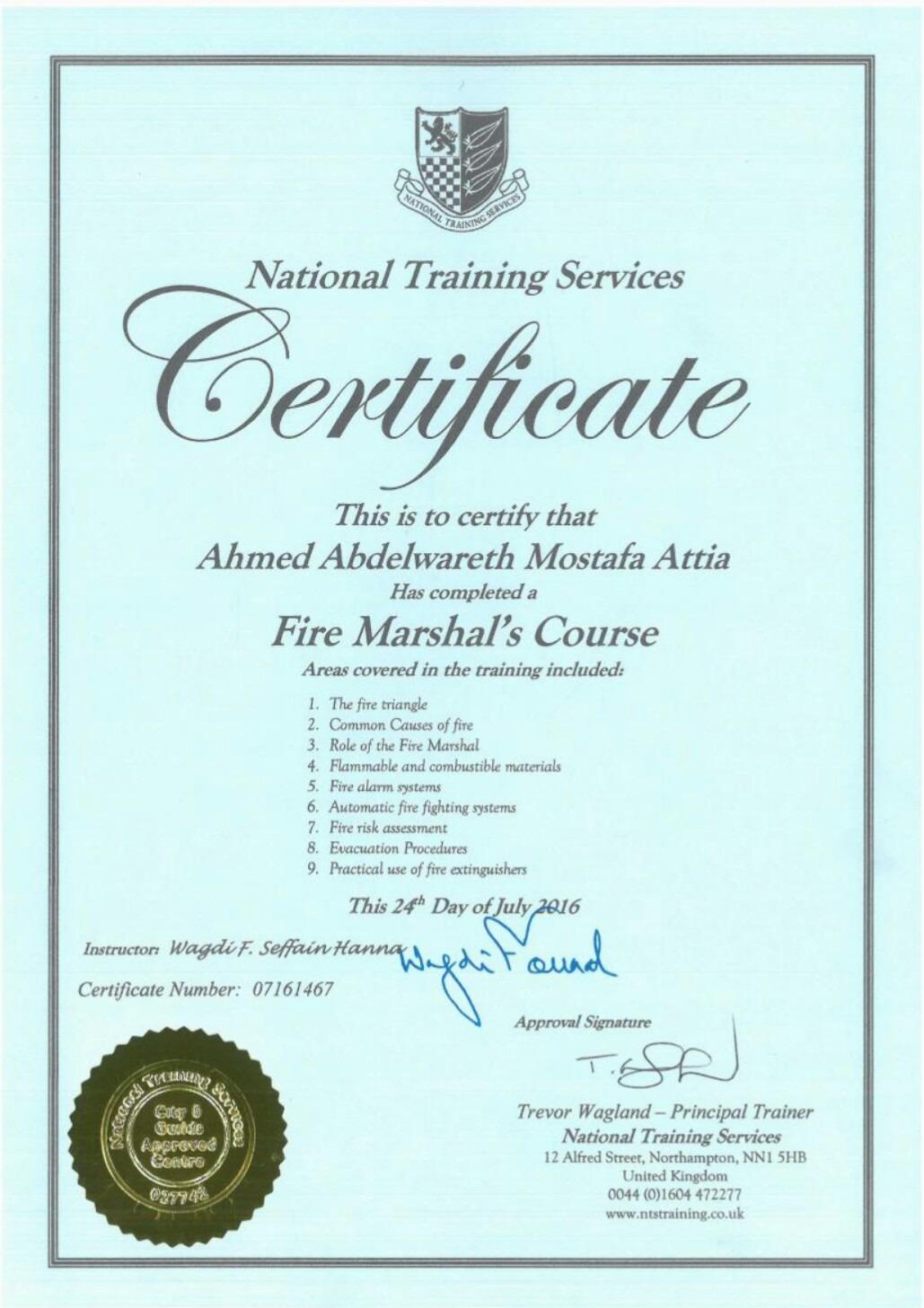 ahmed abd el wareth mostafa attia bayt com fire marshals certificate