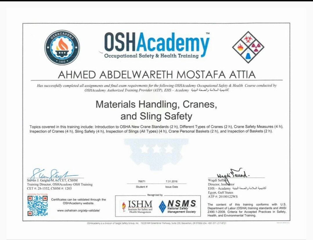 Ahmed abd el wareth mostafa attia bayt materials handling cranes and sings safety certificate 1betcityfo Image collections