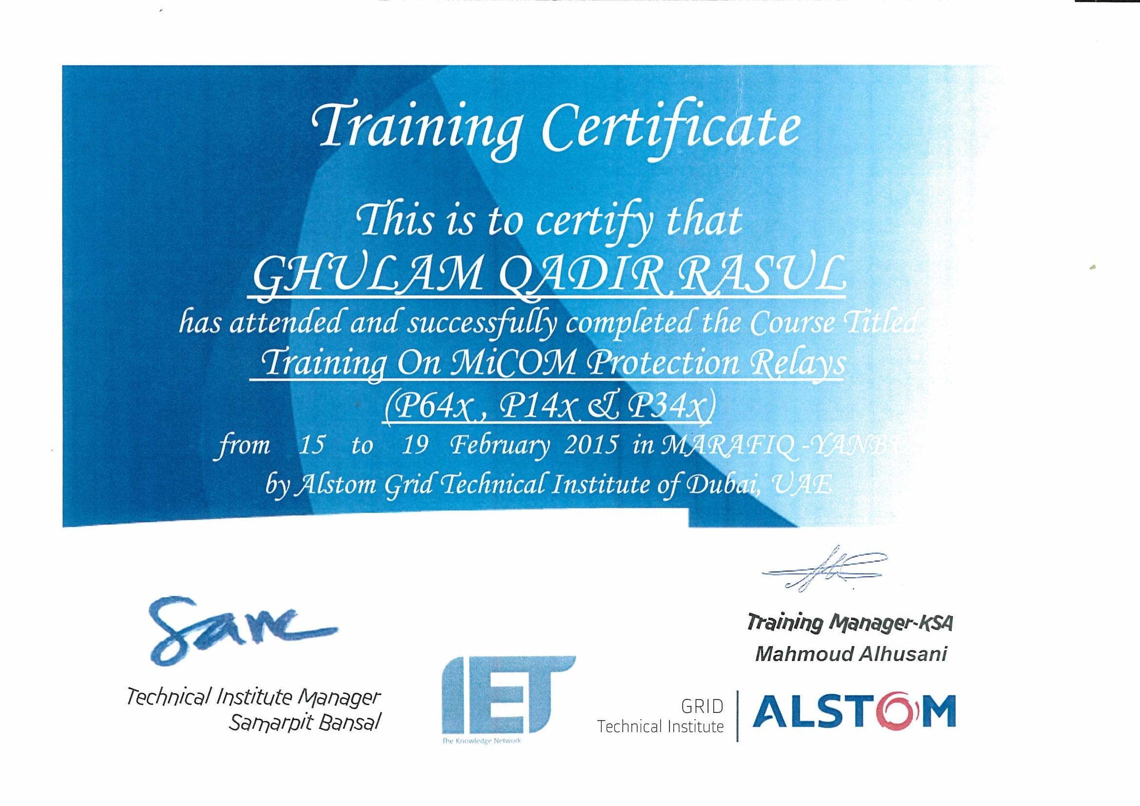 GHULAM QADIR GHULAM RASUL Baytcom - Alstom electromagnetic relay catalogue