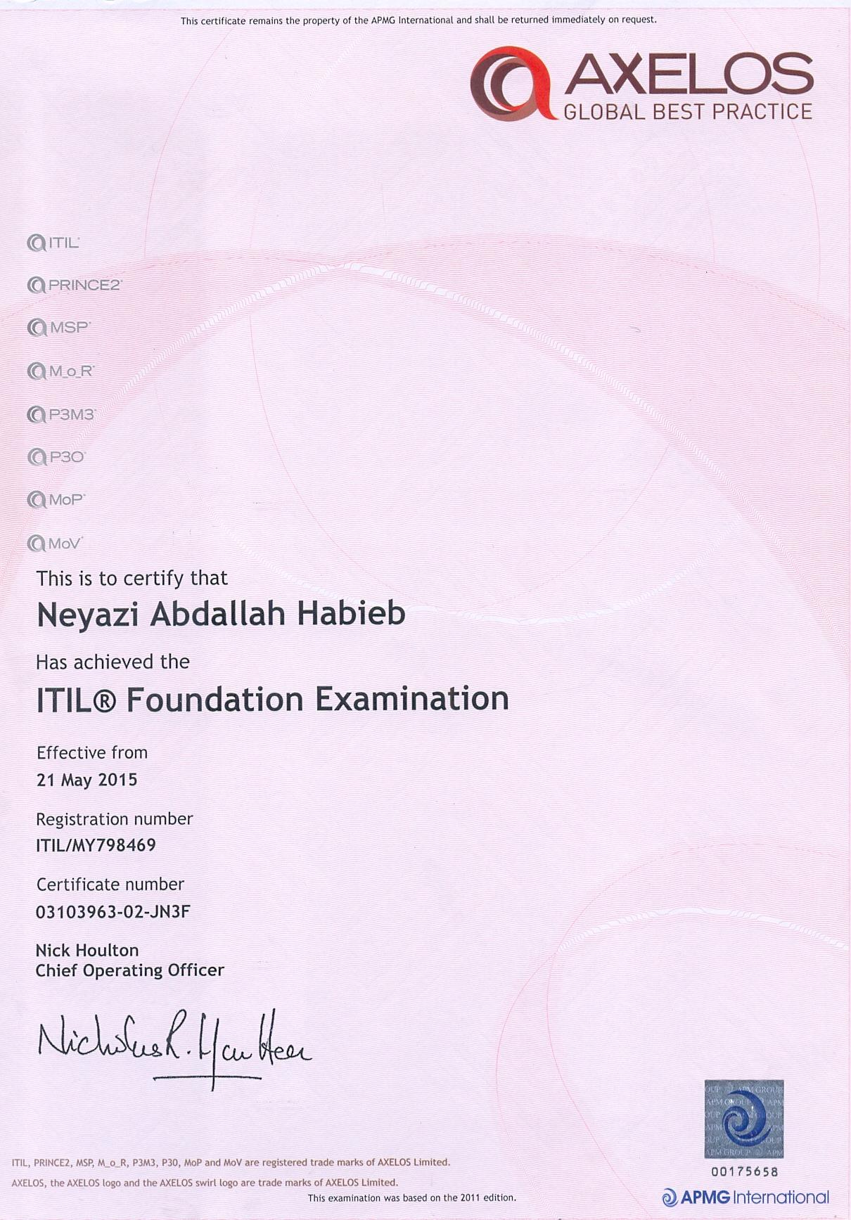 Neyazi abdallah habieb ahmed bayt itil foundation certificate xflitez Gallery