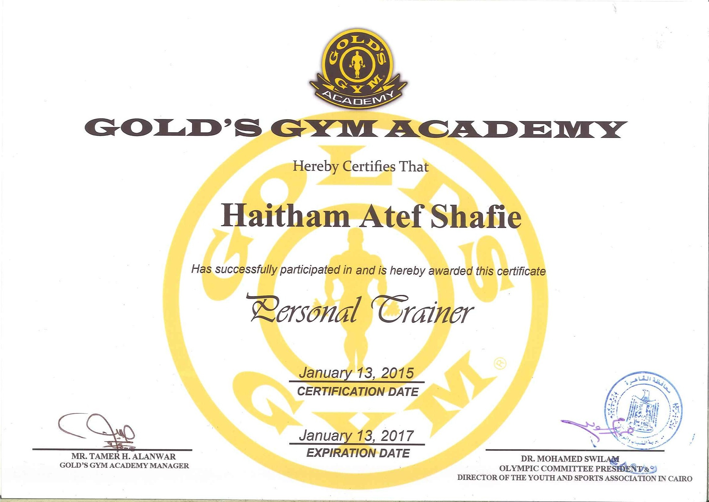 Gold gym personal trainer certification gym zen personal trainer gold s gym academy certificate haitham atef bayt com xflitez Gallery
