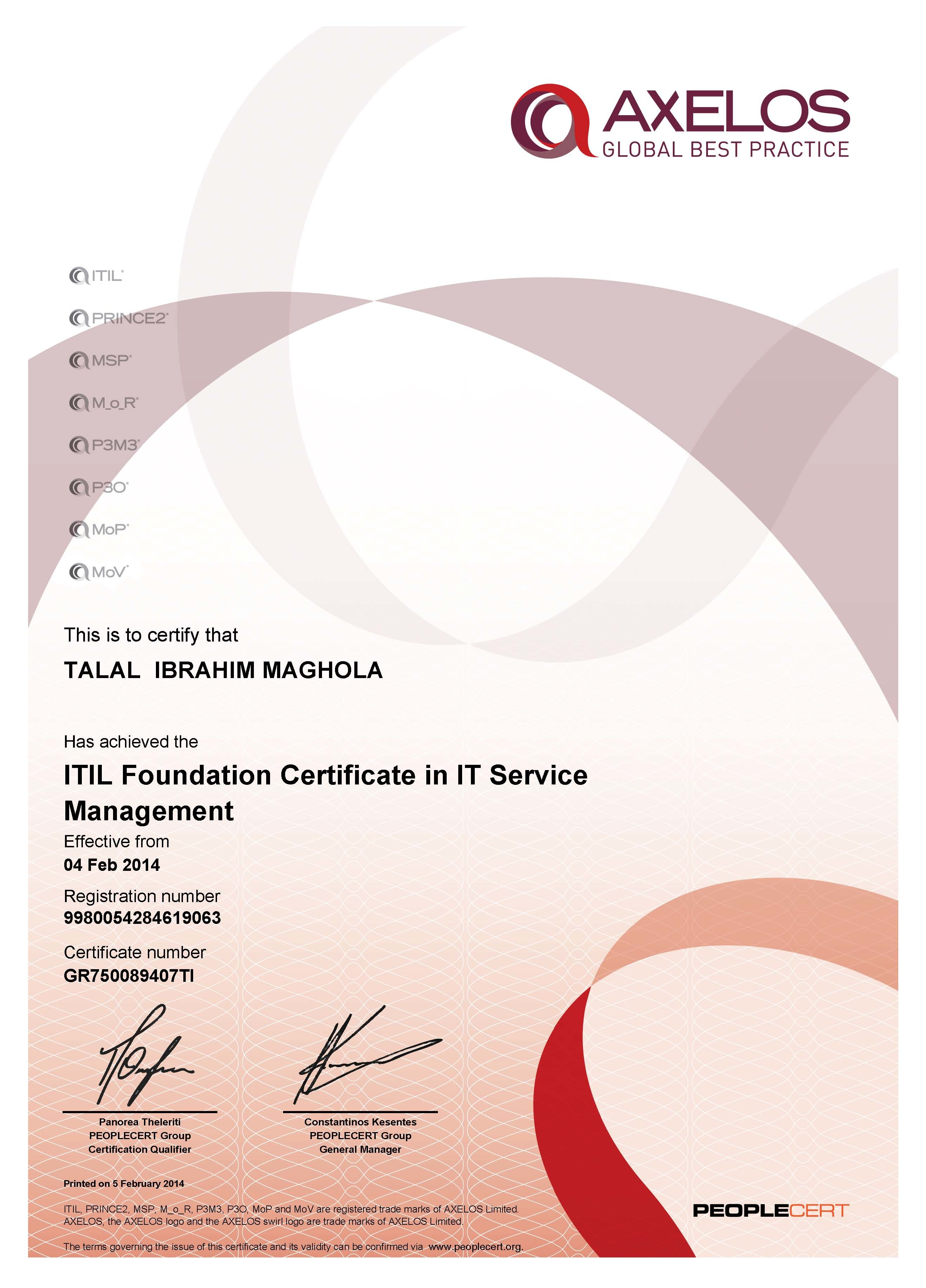 Talal ibrahim bayt itil foundation certificate in it service 2011 certificate xflitez Gallery