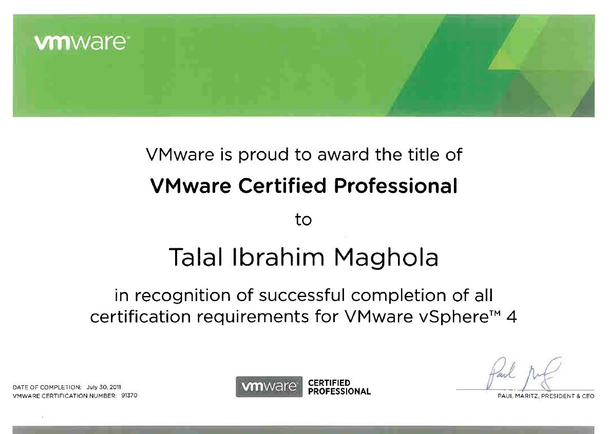Talal ibrahim bayt vcp vmware certified professional certificate xflitez Images