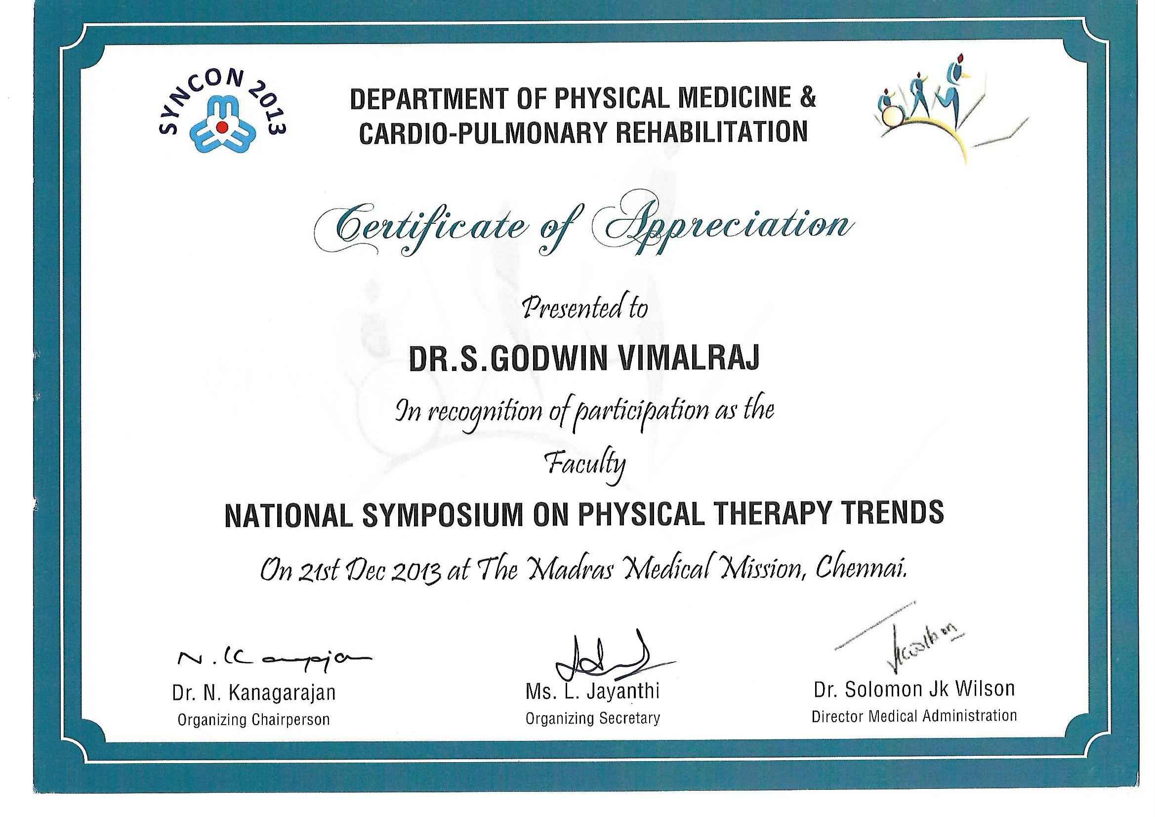 Godwin vimalraj stephen bayt certificate of appreciation faculty for organising national symposium on physical therapy trends certificate yadclub Image collections