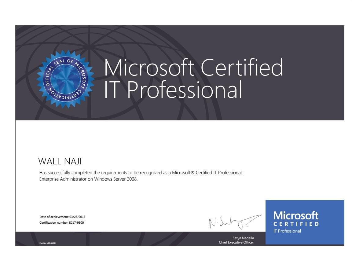 Wael naji bayt mcitp microsoft certified it professional enterprise administrator on windows server 2008 certificate 1betcityfo Images