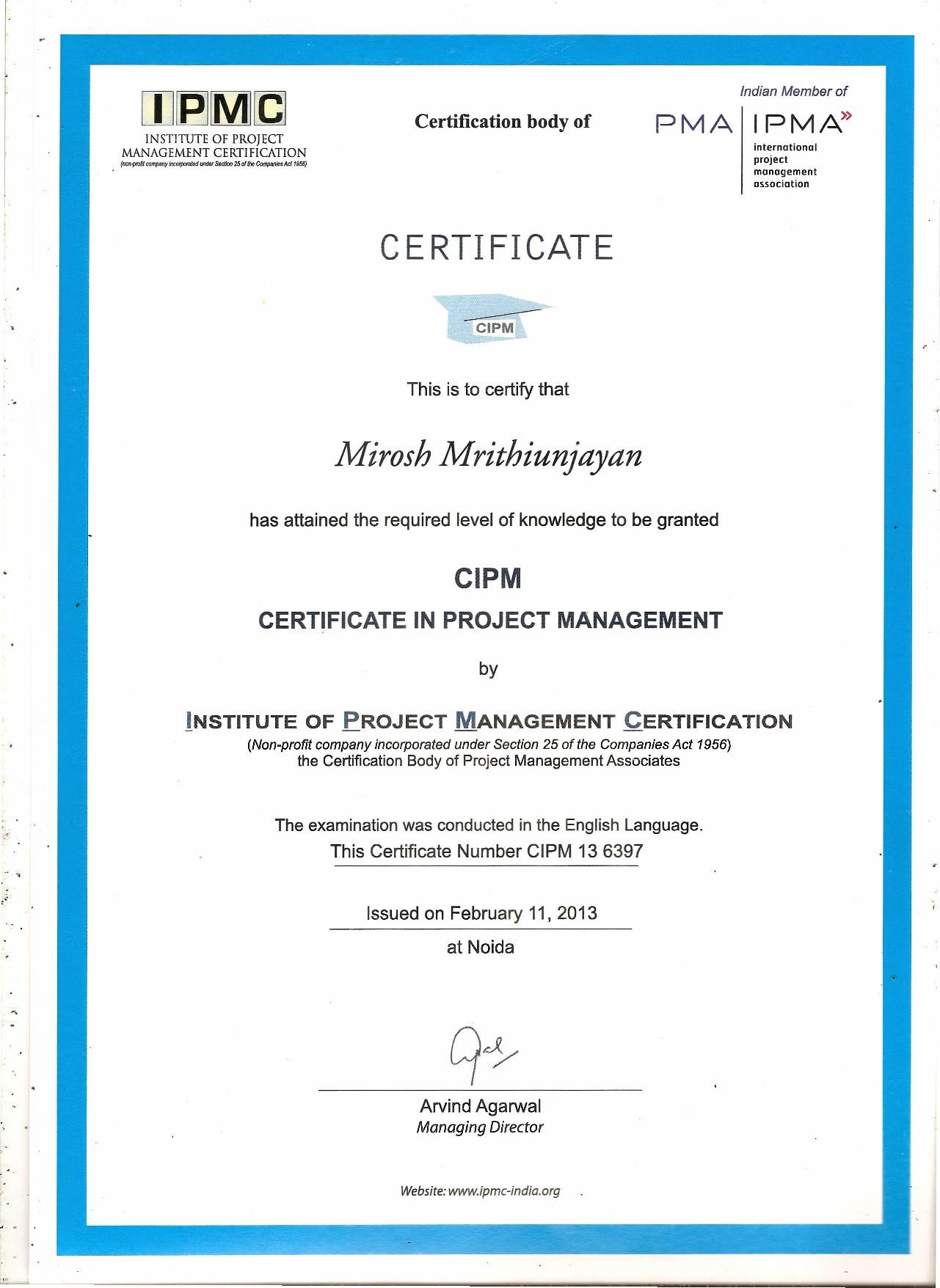 Mirosh mrithiunjayan bayt certificate in project management certificate 1betcityfo Images