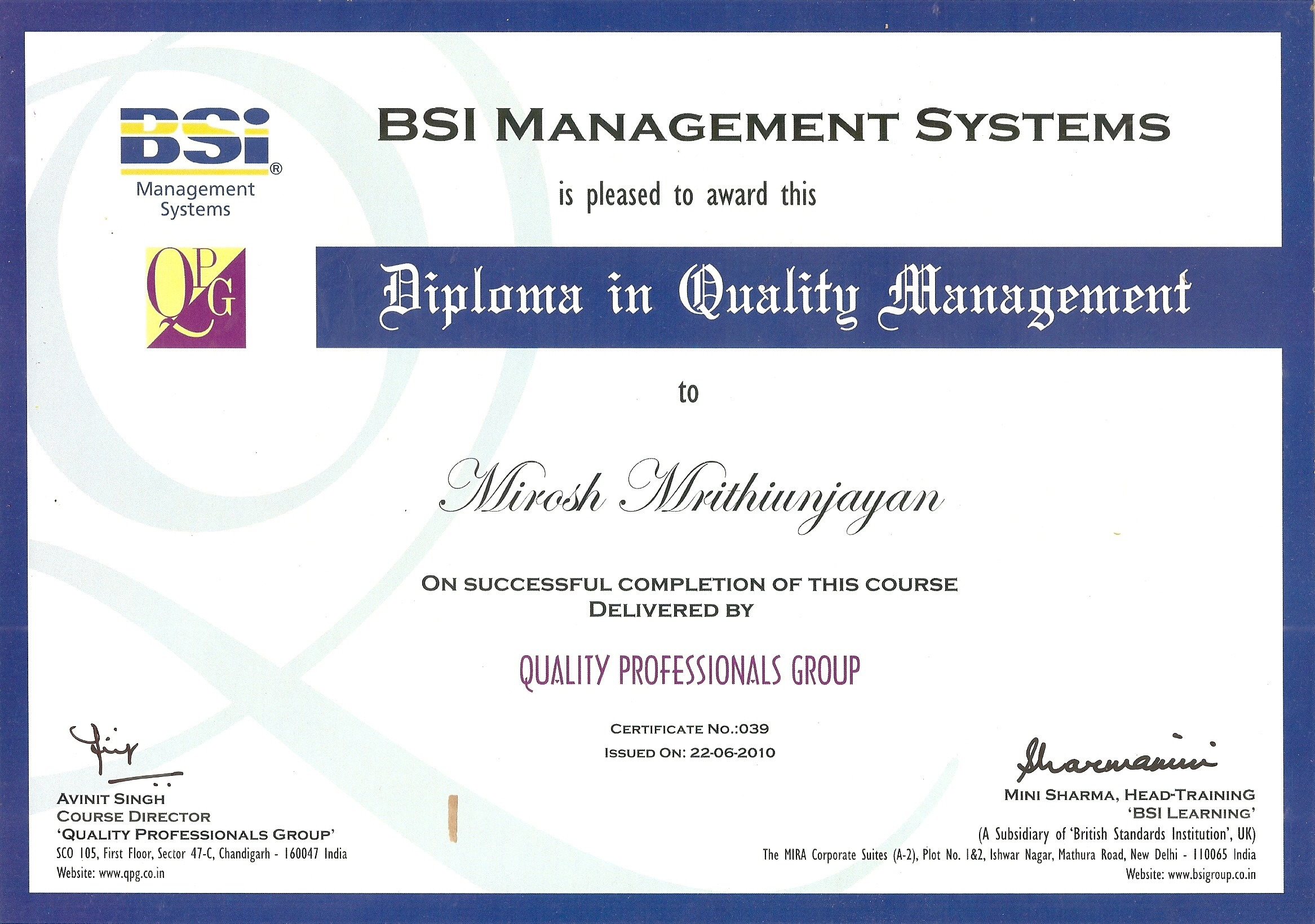 mirosh mrithiunjayan bayt com diploma in quality management certificate