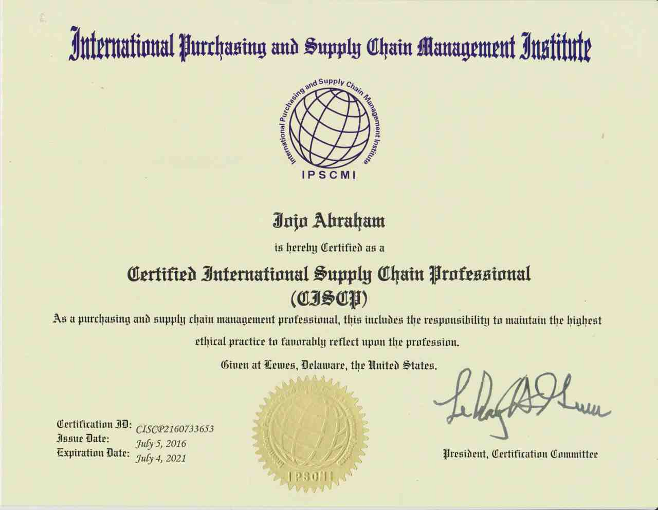 Jojo abraham bayt certified international supply chain professional ciscp certification id ciscp2160733653 from international purchase and supply chain management xflitez Image collections