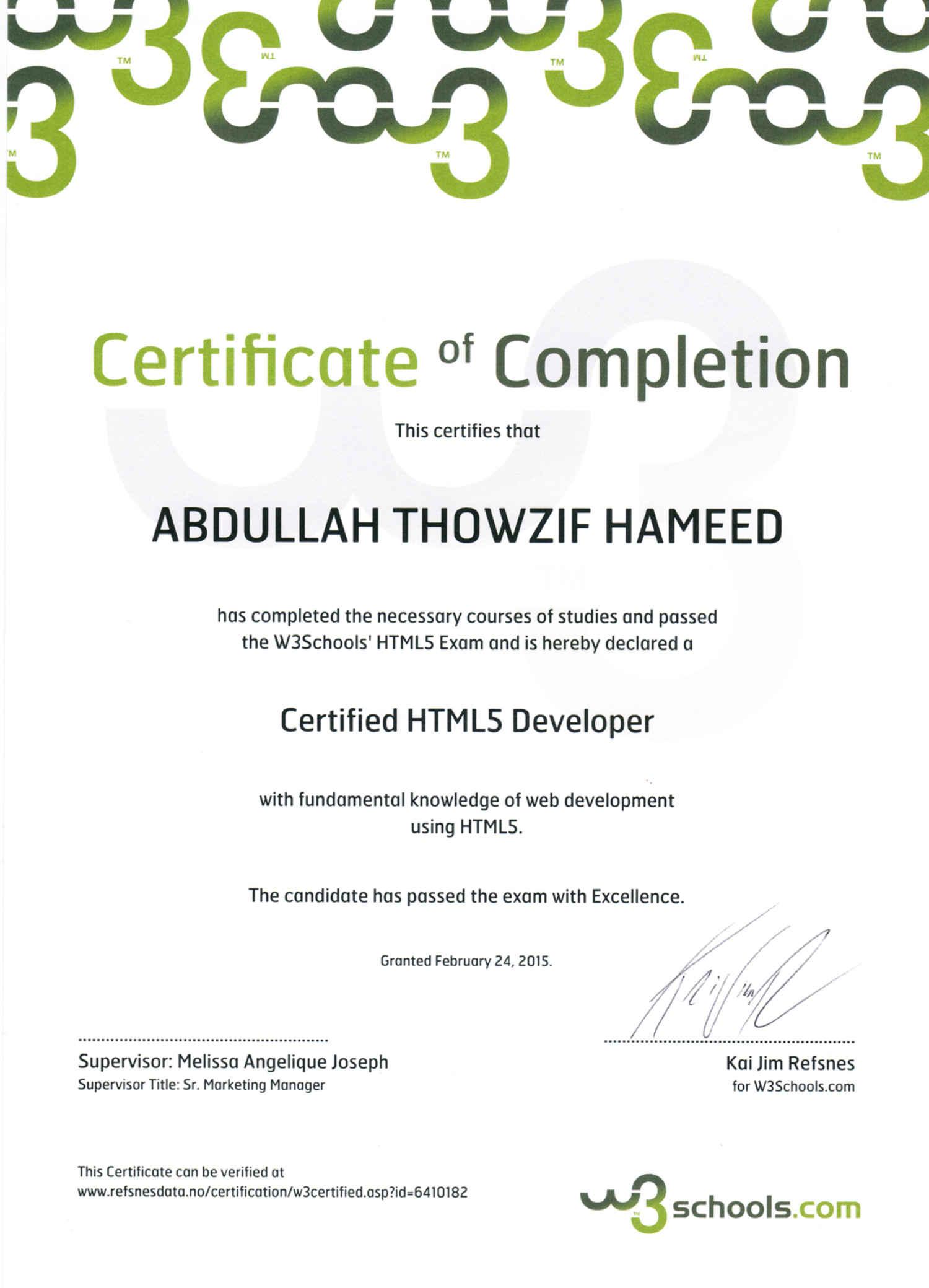 Abdullah thowzif bayt html5 certification certificate xflitez Choice Image