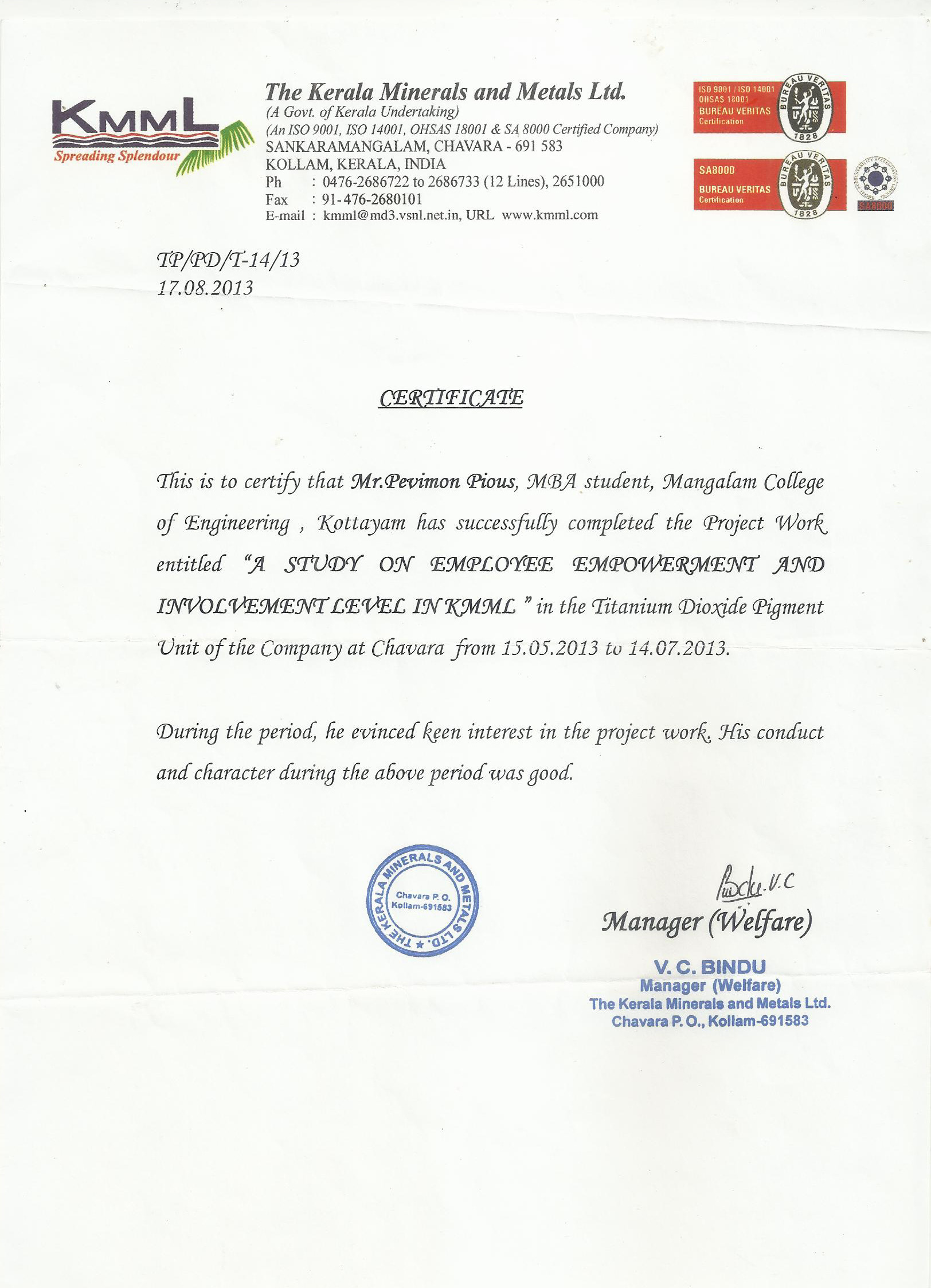 Pevi pious bayt certificate for project study certificate xflitez Gallery