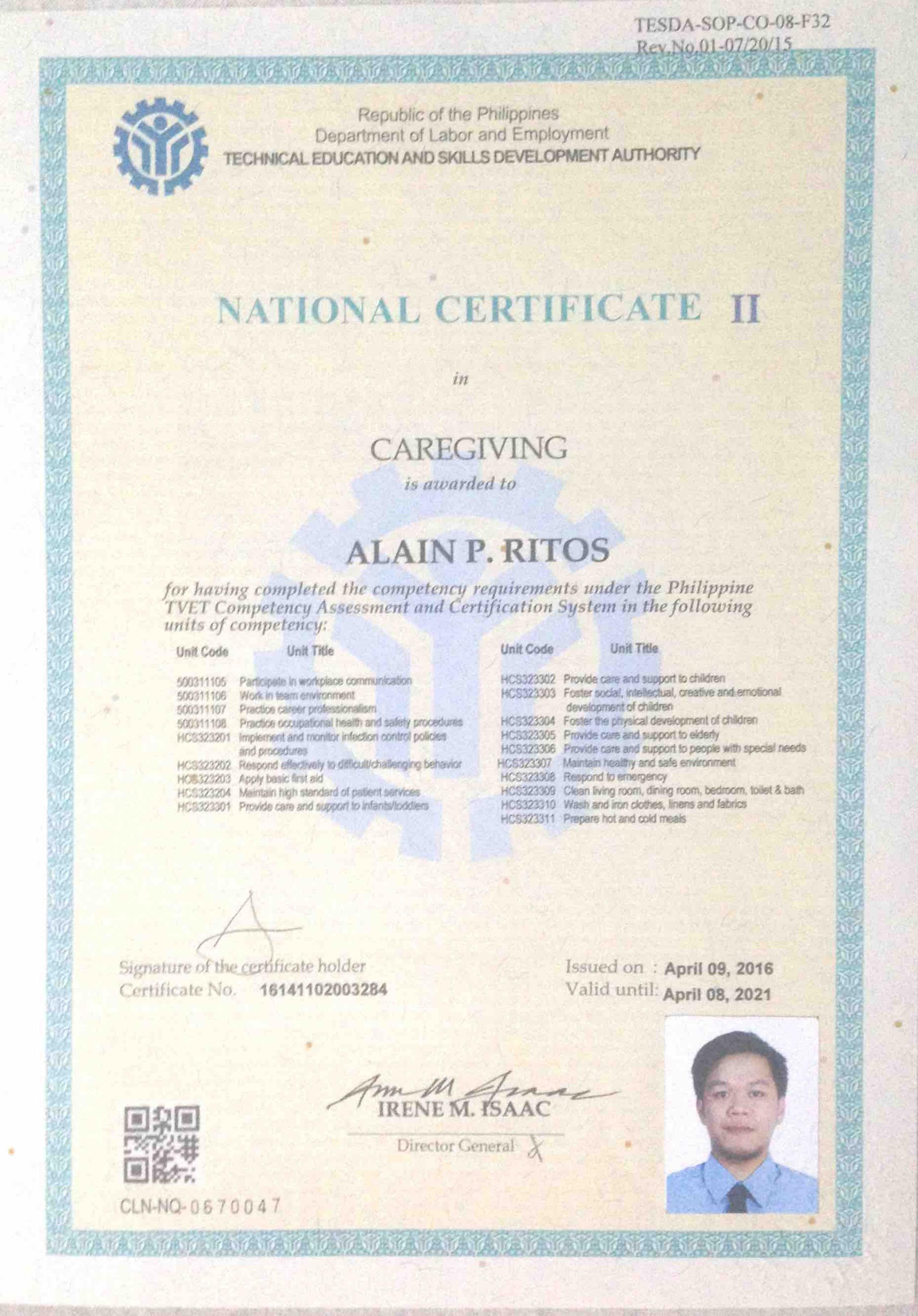 Alain ritos bayt caregiving ncii certificate 1betcityfo Choice Image