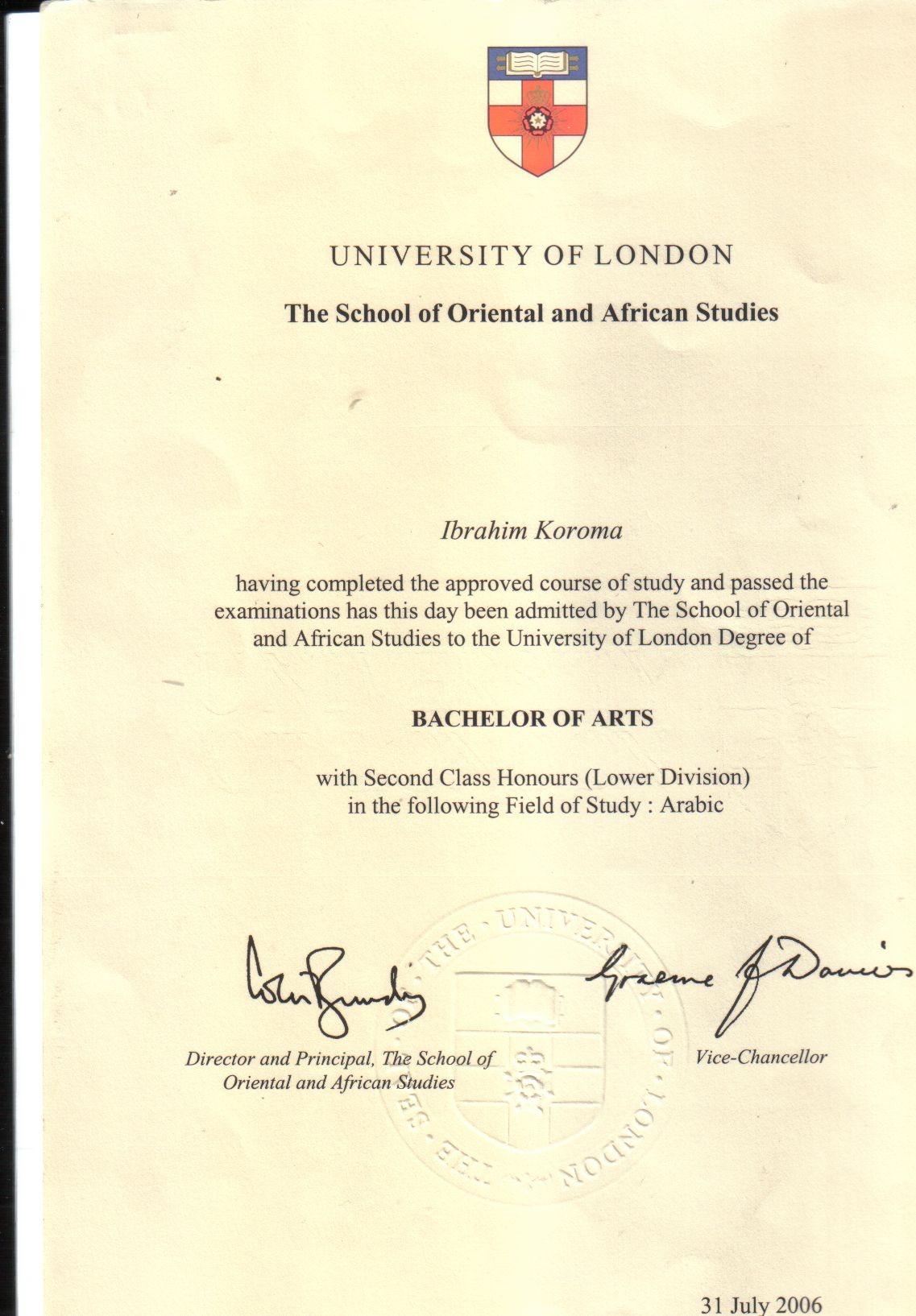 ibrahim koroma bayt com london university ba honours arabic