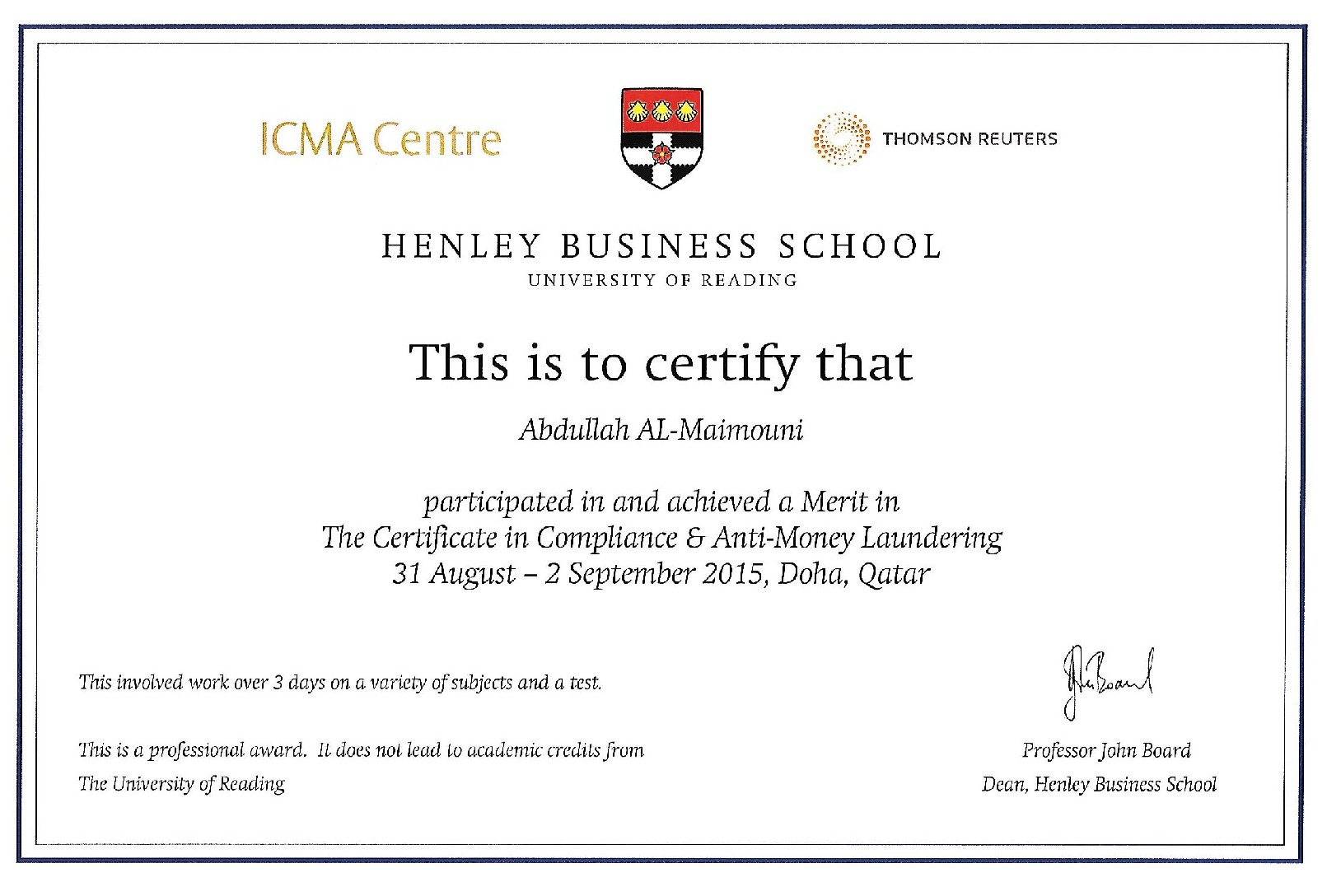 Abdullah al maimouni bayt the certificate in compliance and anti money laundering certificate 1betcityfo Choice Image