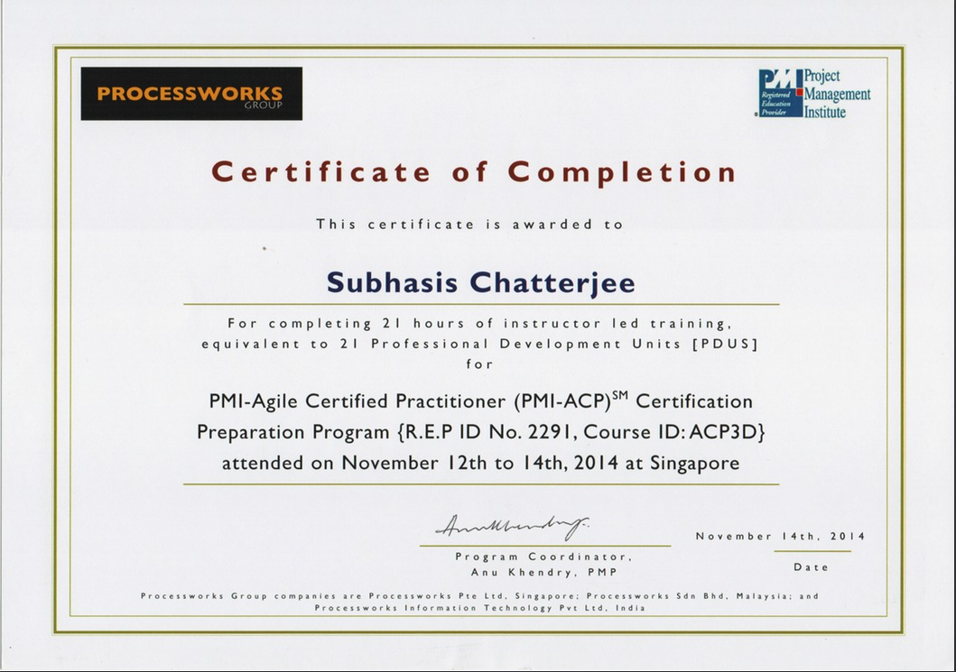 Subhasis chatterjee chatterjee bayt pmi agile certified practitioner certificate 1betcityfo Images