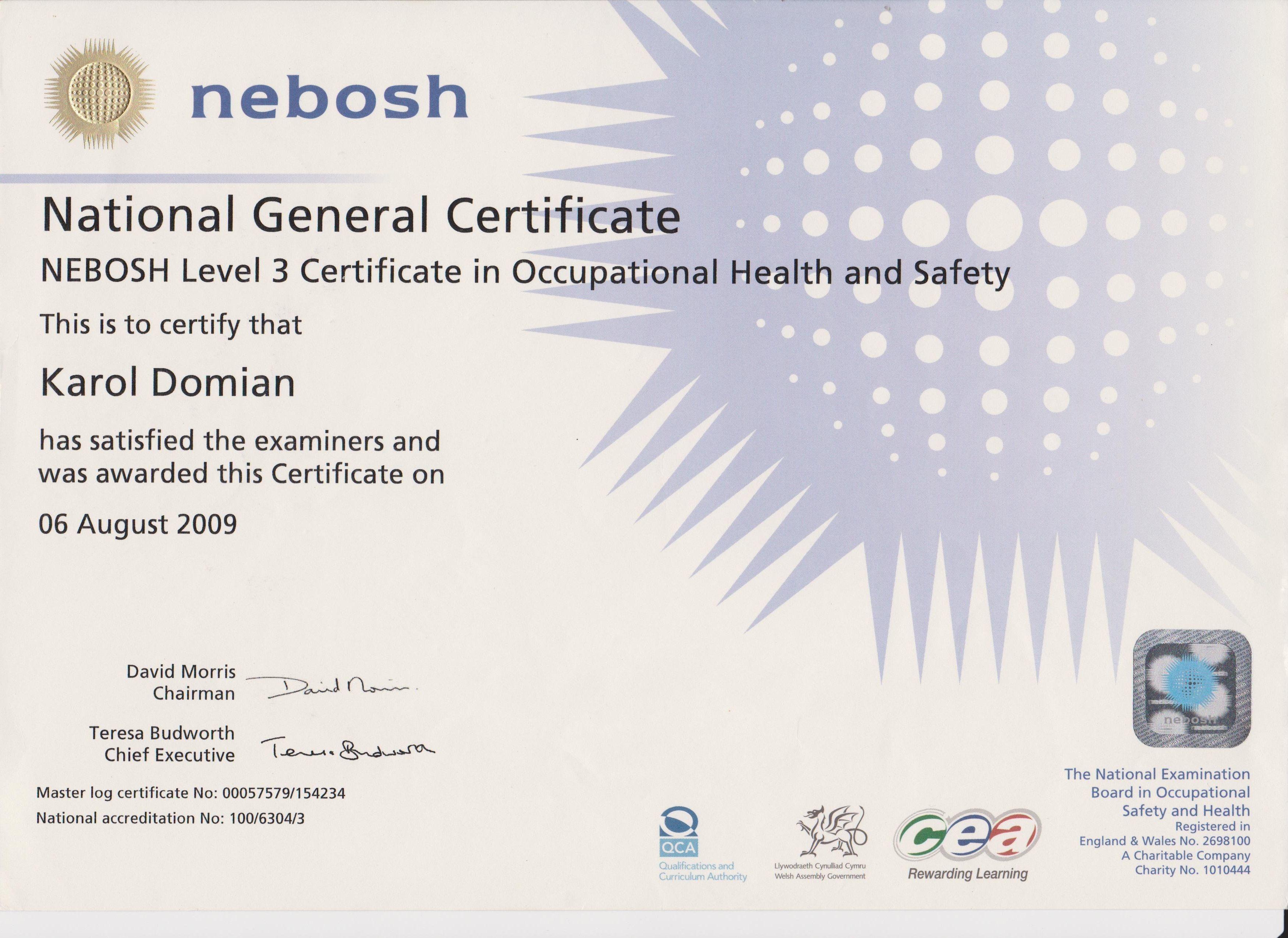 Diploma Nebosh General Certificate