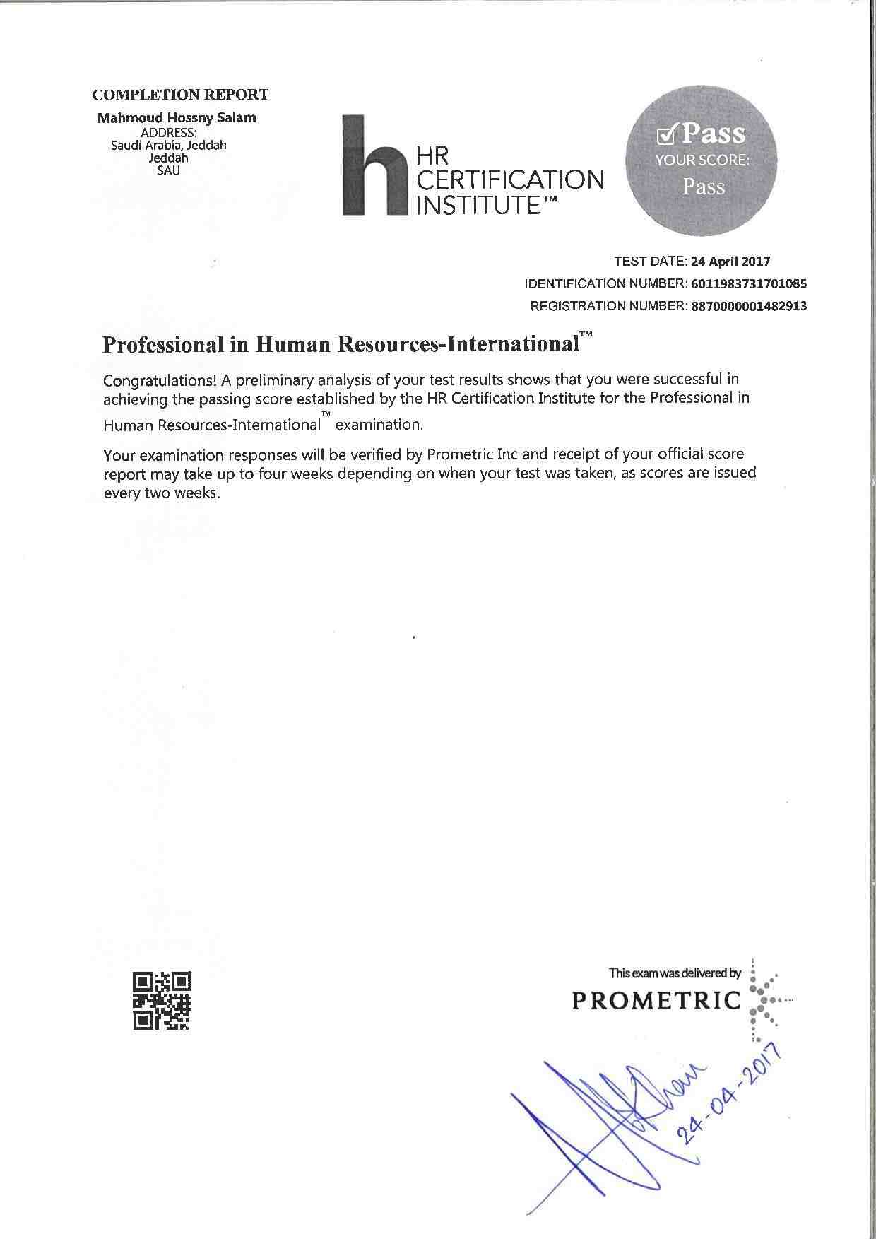 Human Resource Certification Institute Free Professional Resume
