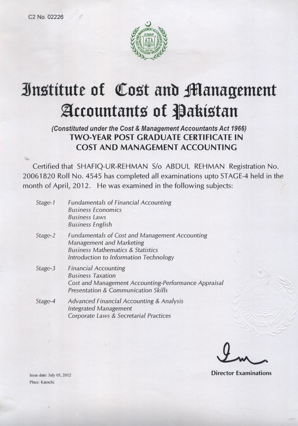 Shafiq ur rehman bayt at institute of cost management accountants of pakistan icmap 1betcityfo Image collections
