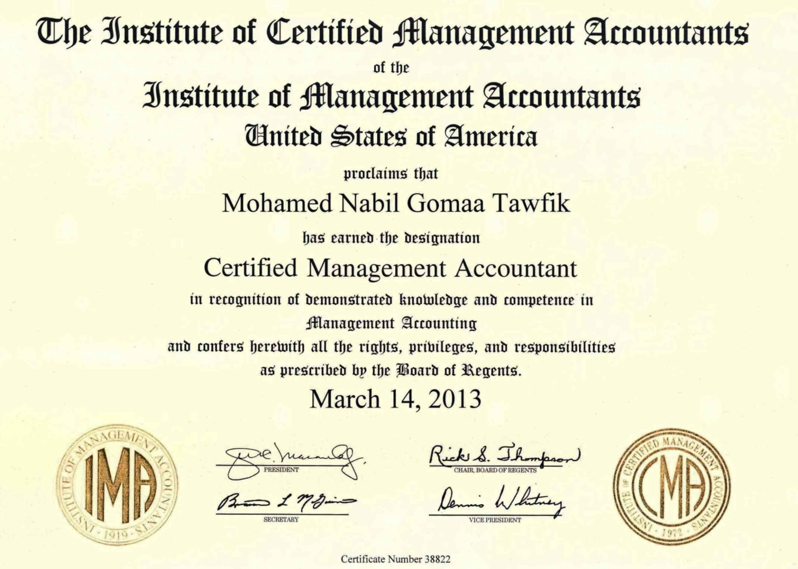 Mohamed tawfik cpa cma ctp csca cfa candidate bayt cma certified management accountant institute of certified management accountants icma usa certificate xflitez Images