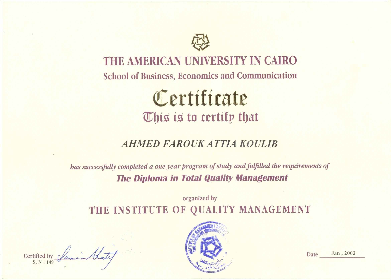 Ahmed farouk koulib bayt higher diploma high graduate diploma in total quality management xflitez Gallery