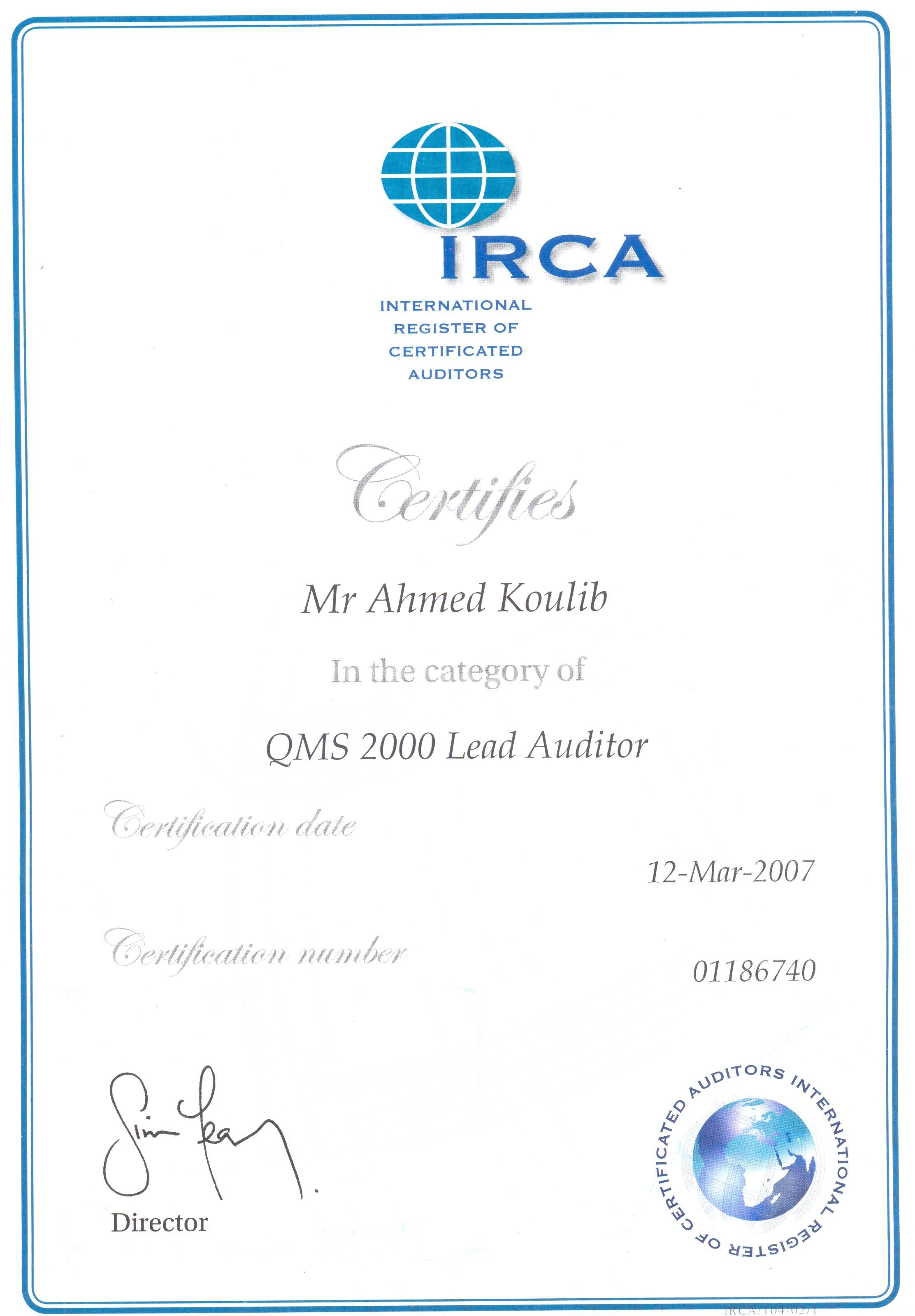 Ahmed farouk koulib bayt iso 90002000 series auditorlead auditors certificate xflitez Gallery