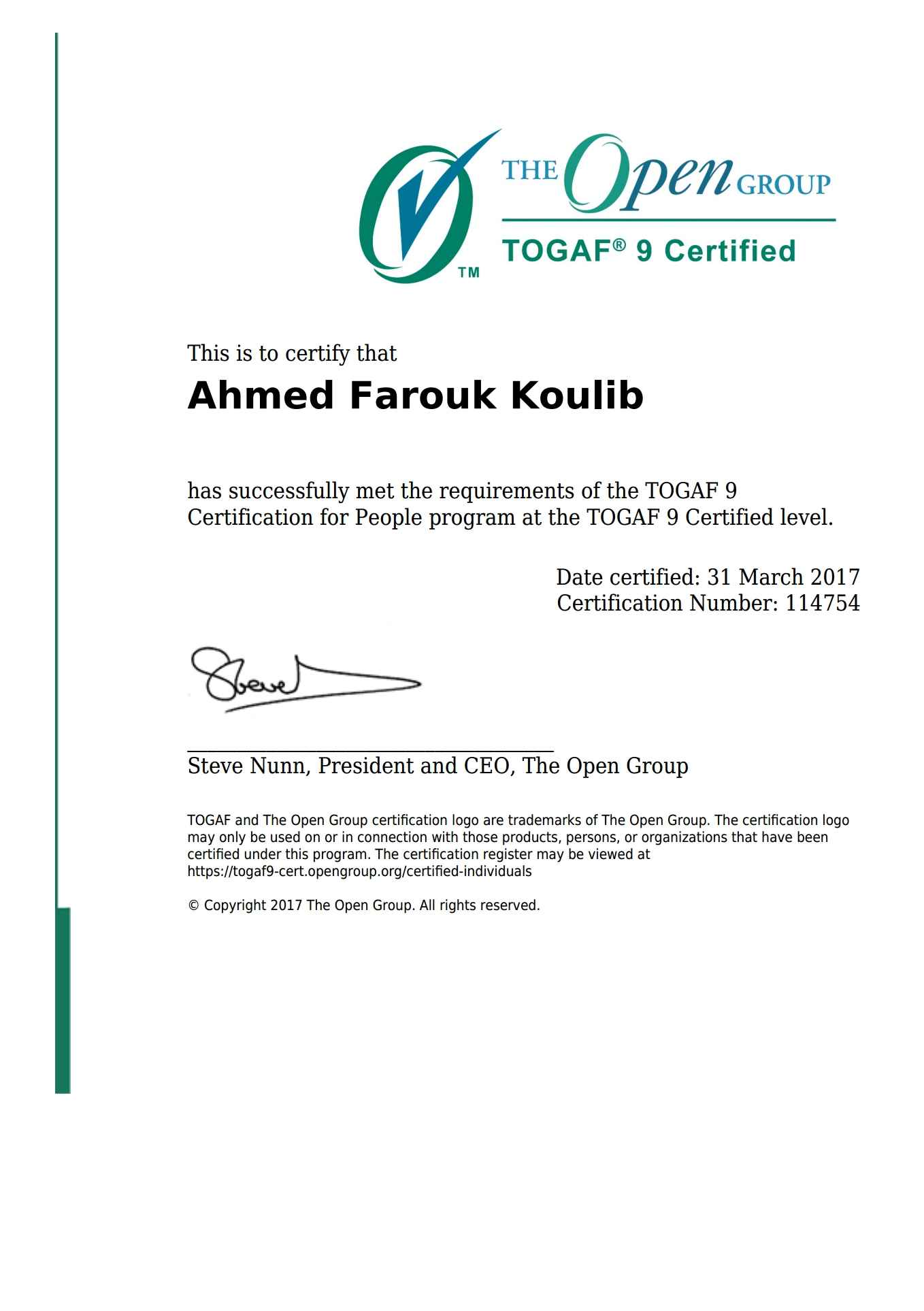 Inspirational pictures of togaf certification business cards and ahmed farouk koulib bayt xflitez Choice Image