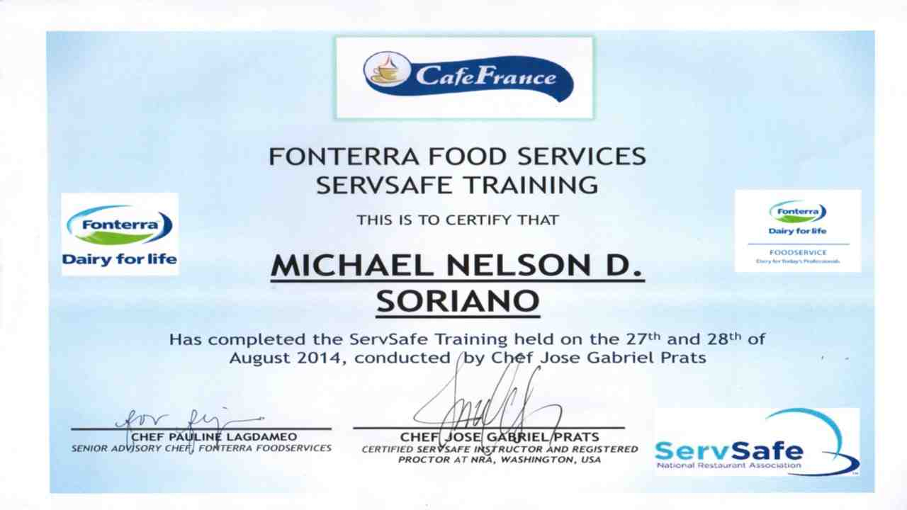 Michael soriano bayt servsafe food protection manager certificate xflitez Image collections