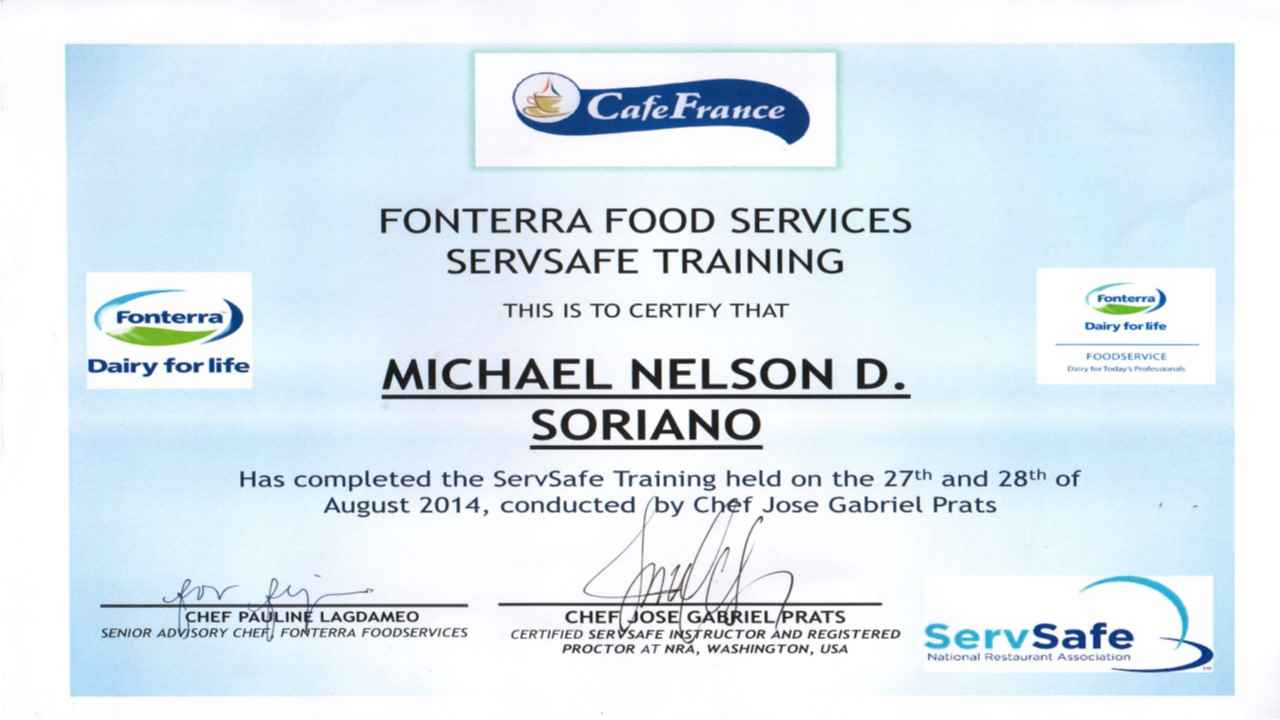 Michael soriano bayt servsafe food protection manager certificate 1betcityfo Choice Image