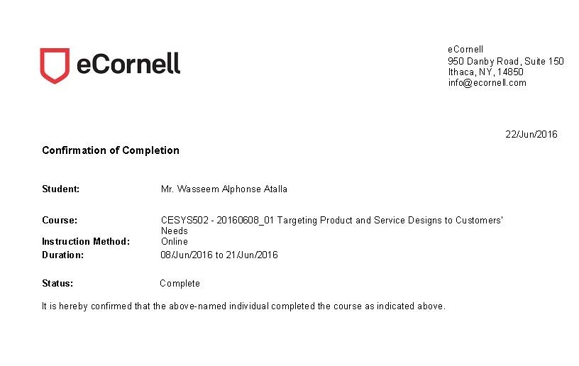 Cornell university marketing strategy certificate