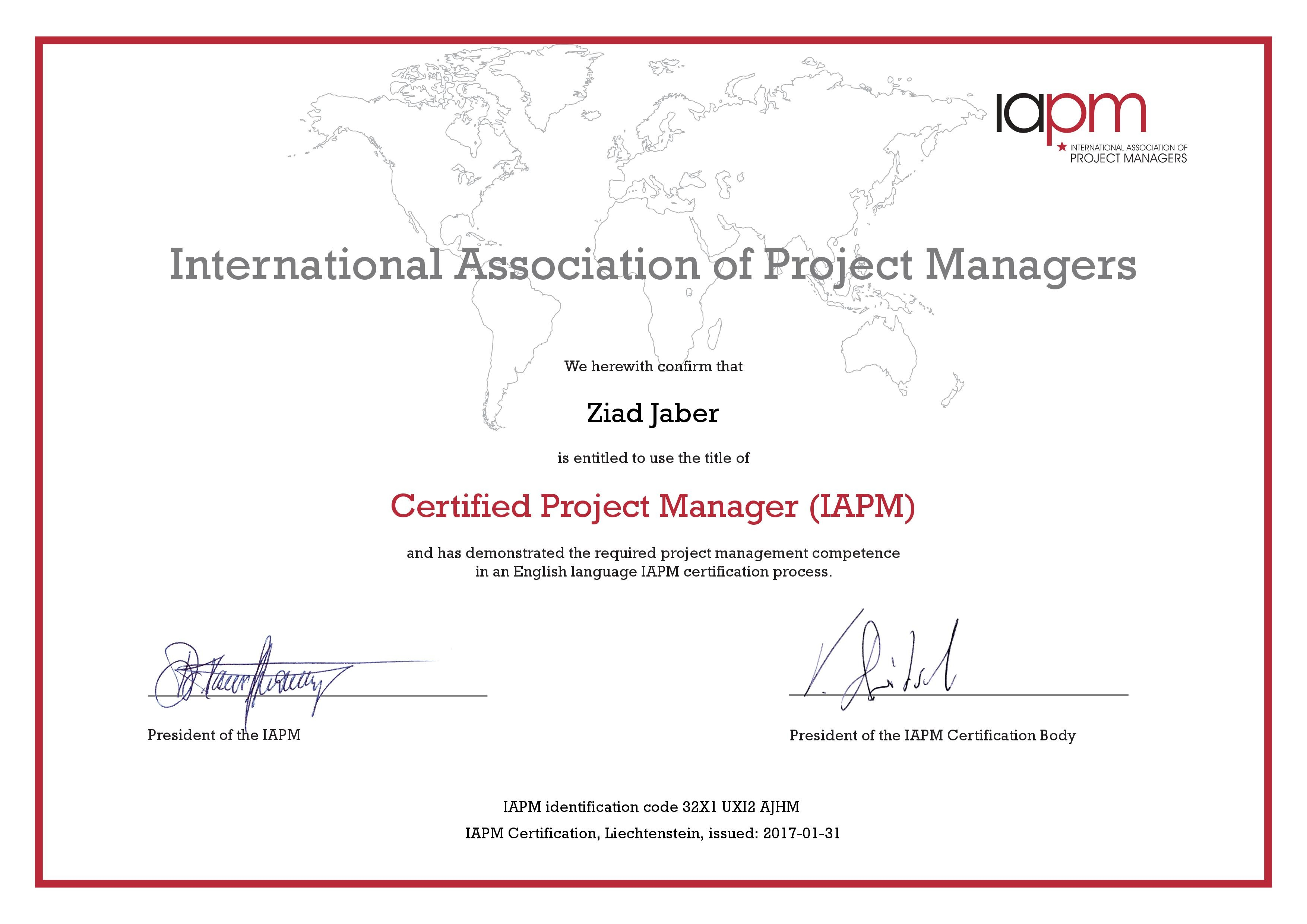 Ziad jaber bayt certified project manager certificate xflitez Image collections