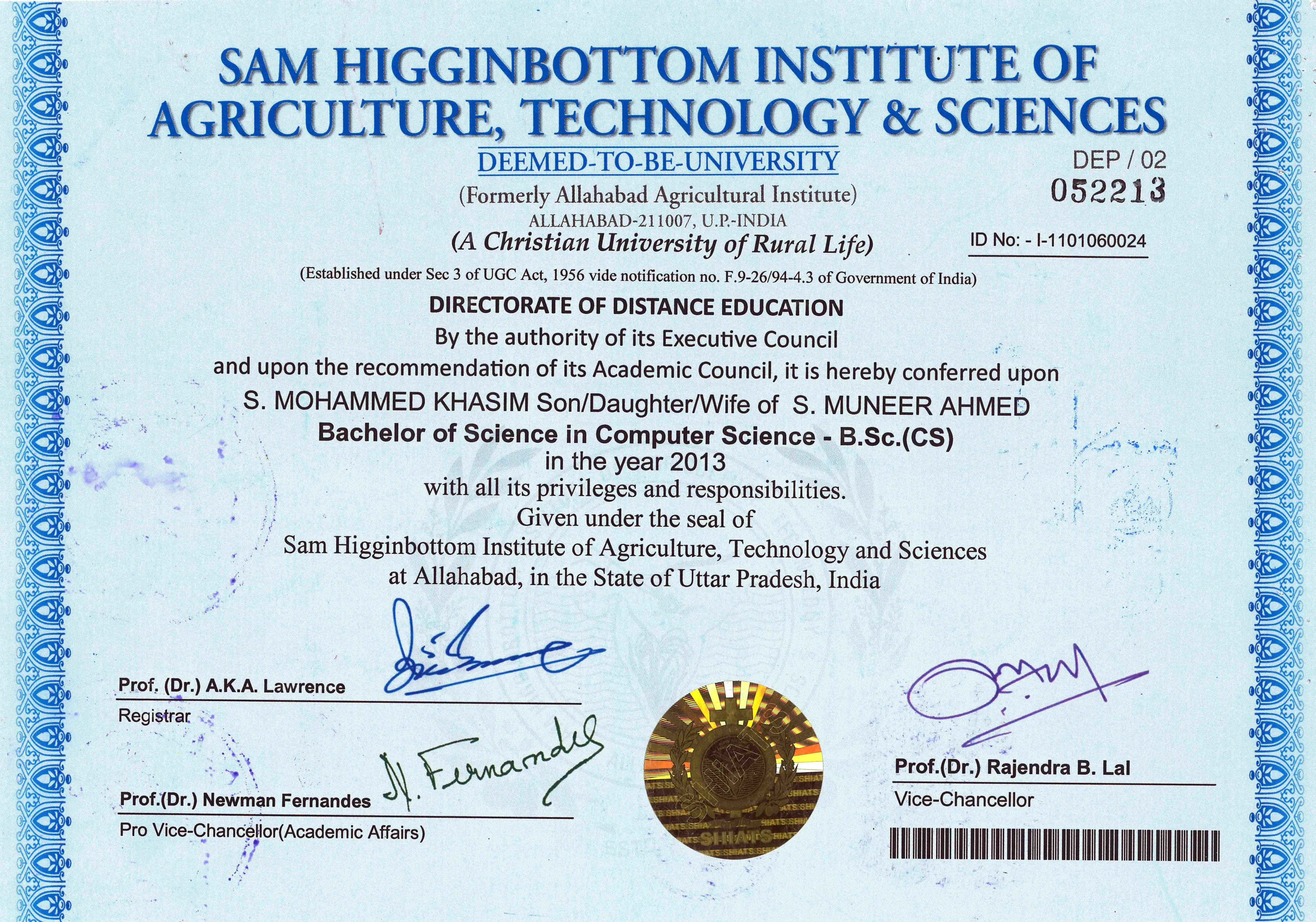 Mohammed khasim shaik bayt sam higginbottom institute of agriculture technology sciences formerly allahbad agricultural institute bcs bachelor of science in computer science xflitez Gallery
