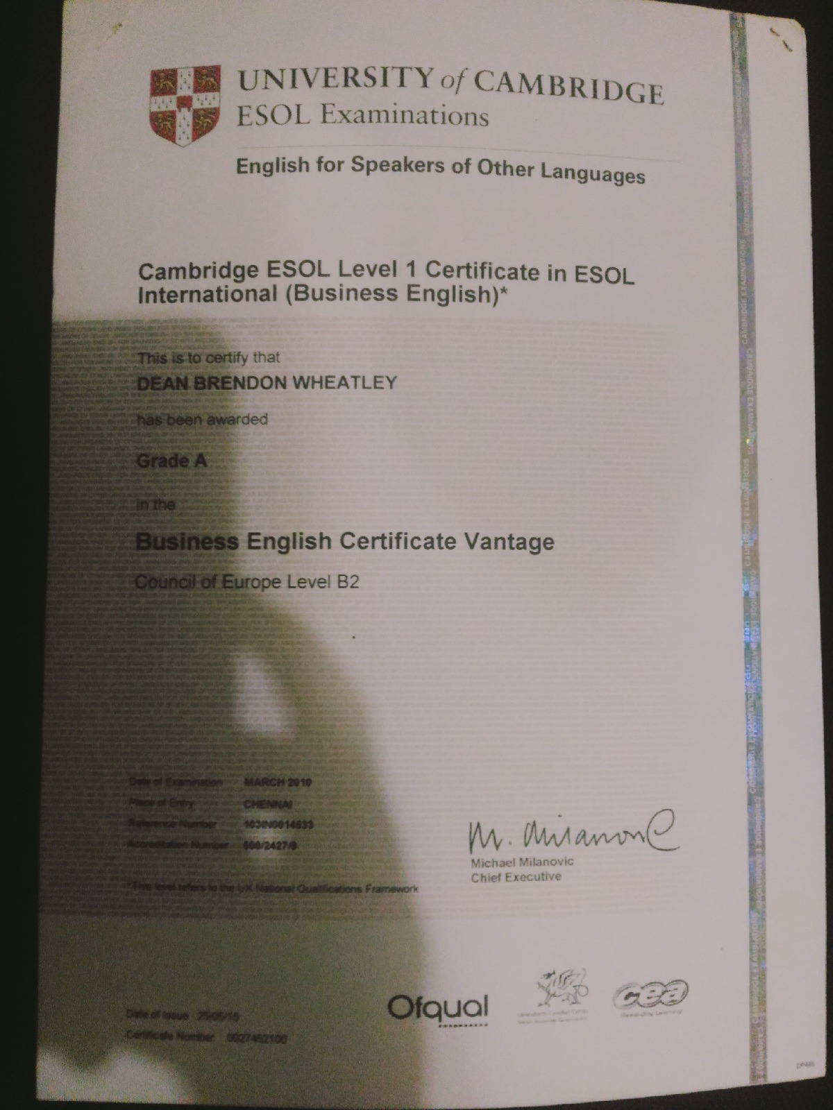 Dean wheatley bayt cambridge esol certificate certificate 1betcityfo Images