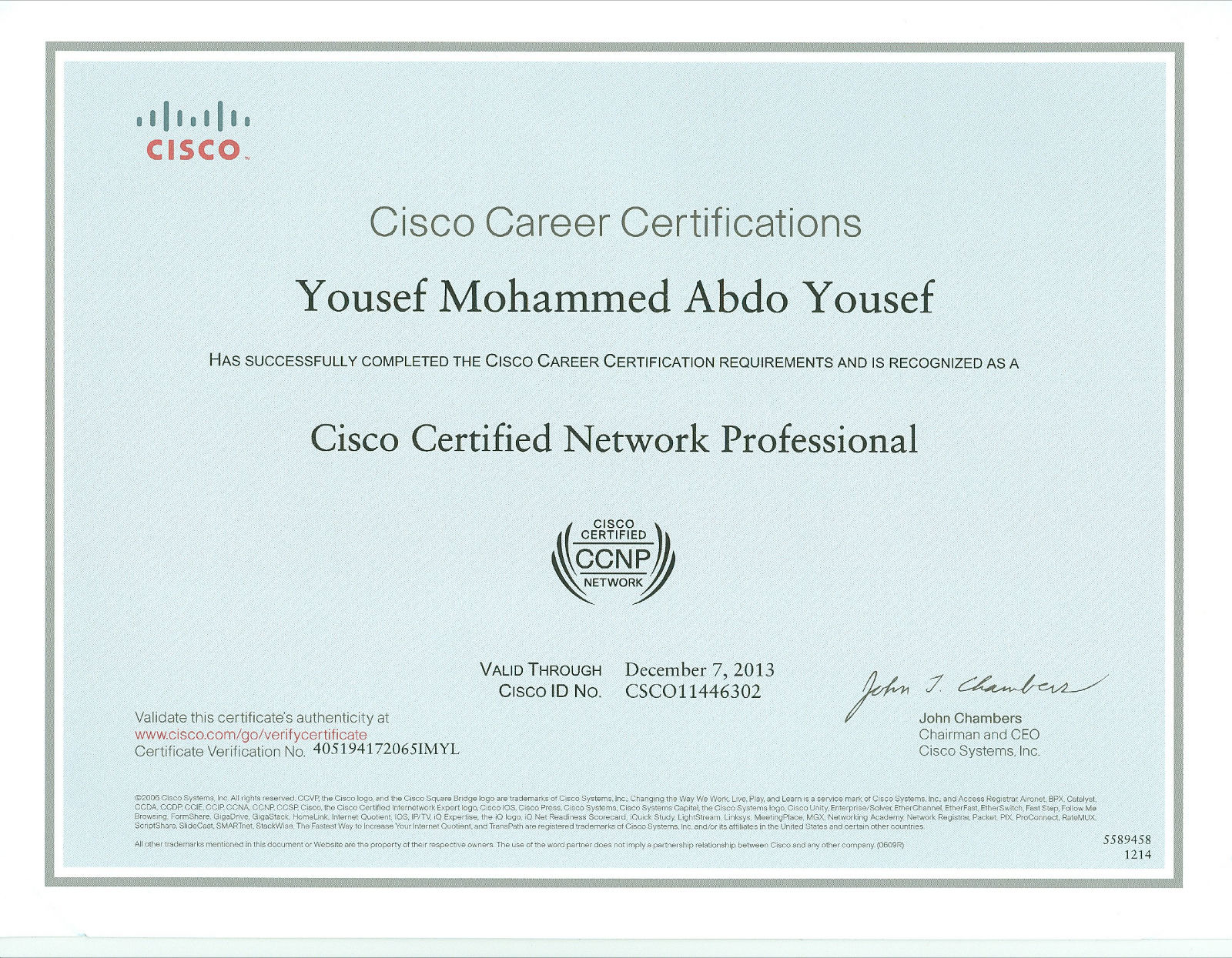 Yousefm yousef bayt cisco certified network professional ccnp certificate xflitez Gallery