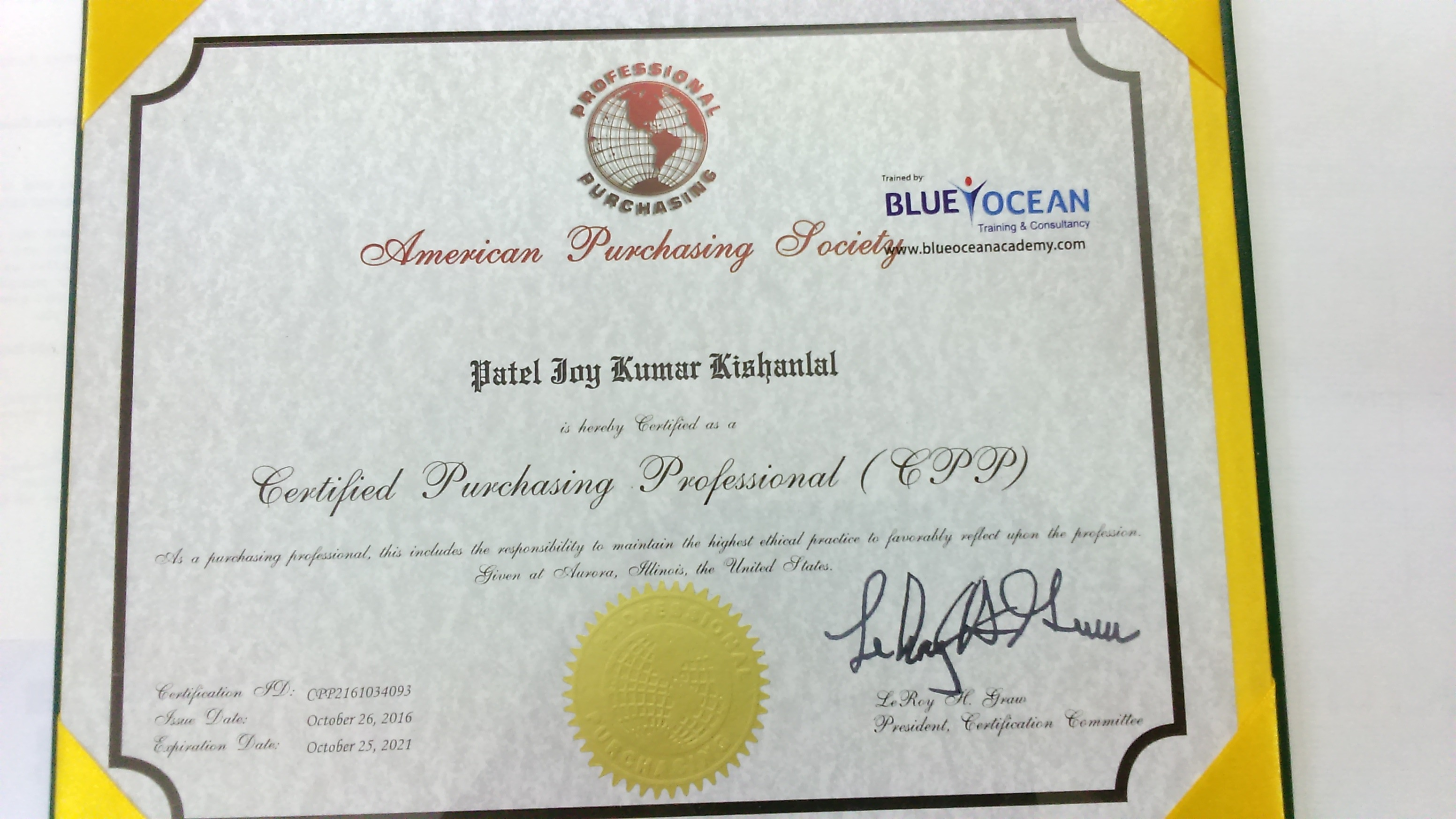 Joy patel bayt higher diploma certified purchasing professional cpp xflitez Image collections