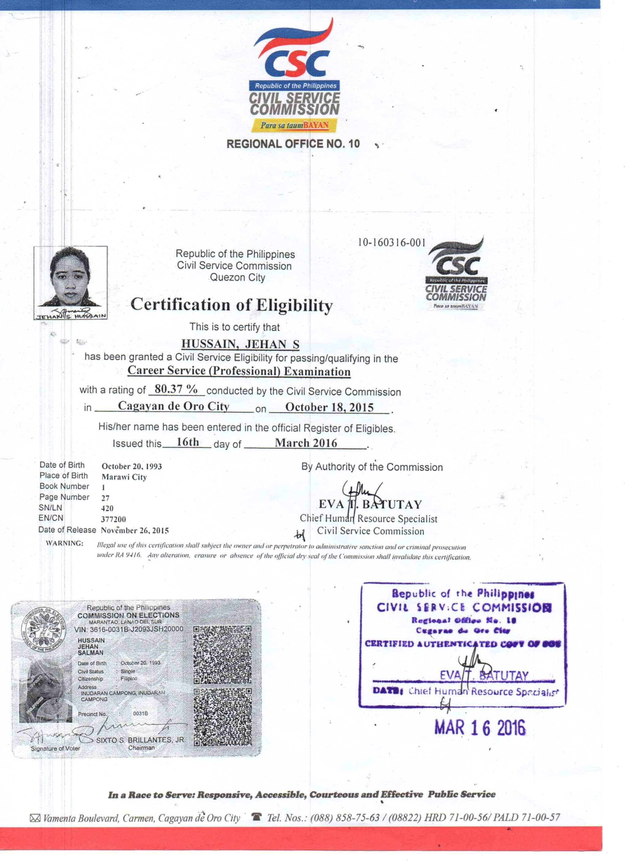 Professional Eligibility Certificate Best Design Sertificate 2018