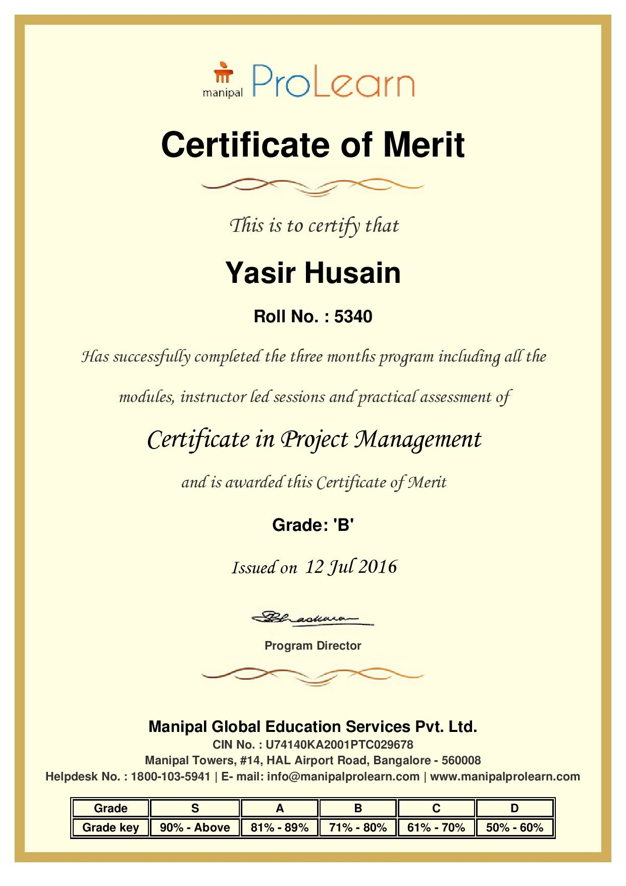Yasir husain bayt certificate in project management certificate 1betcityfo Images